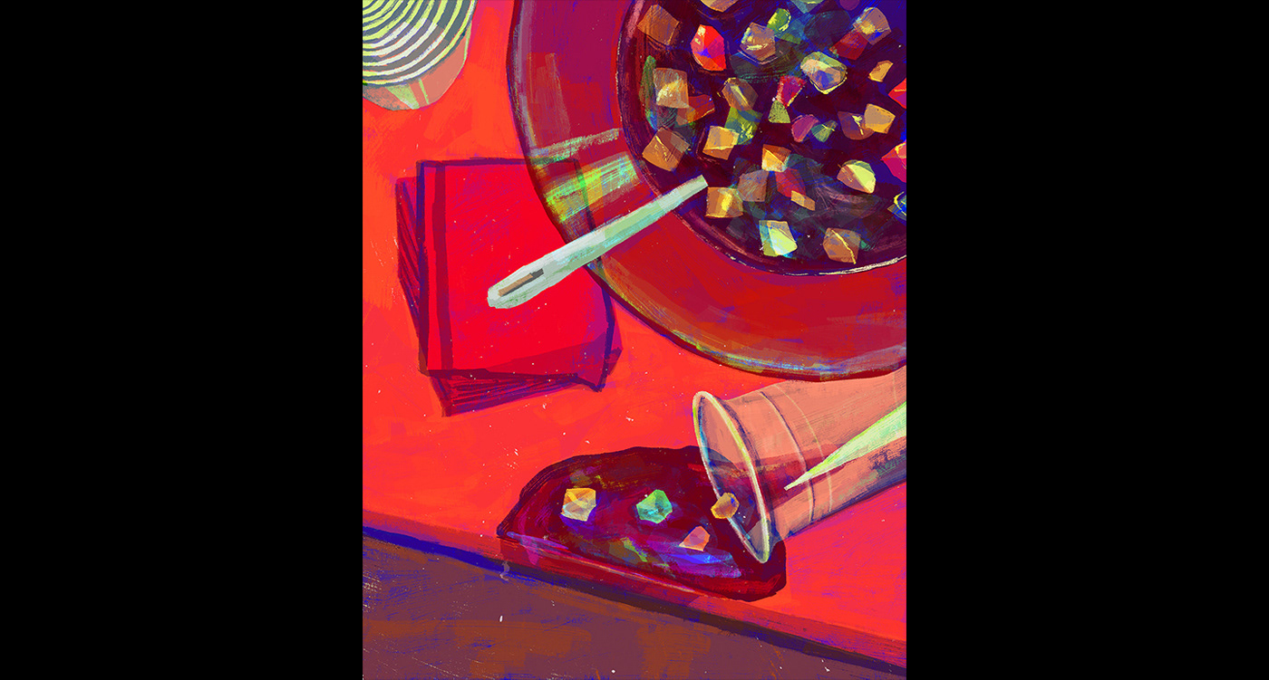 Illustration of a table at a night party. Sangria infused with LSD is in a big red bowl.