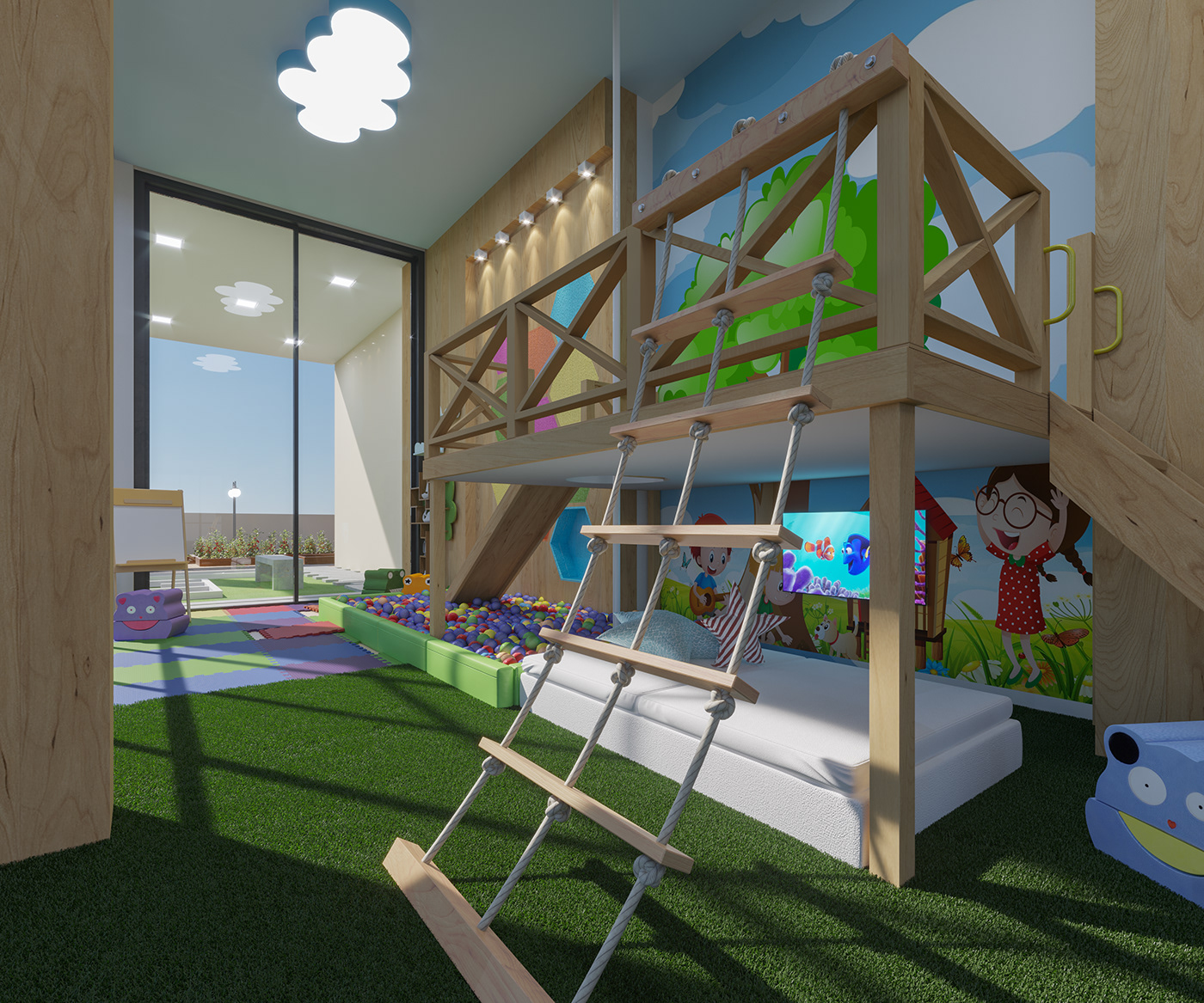 Image may contain: playground, grass and indoor