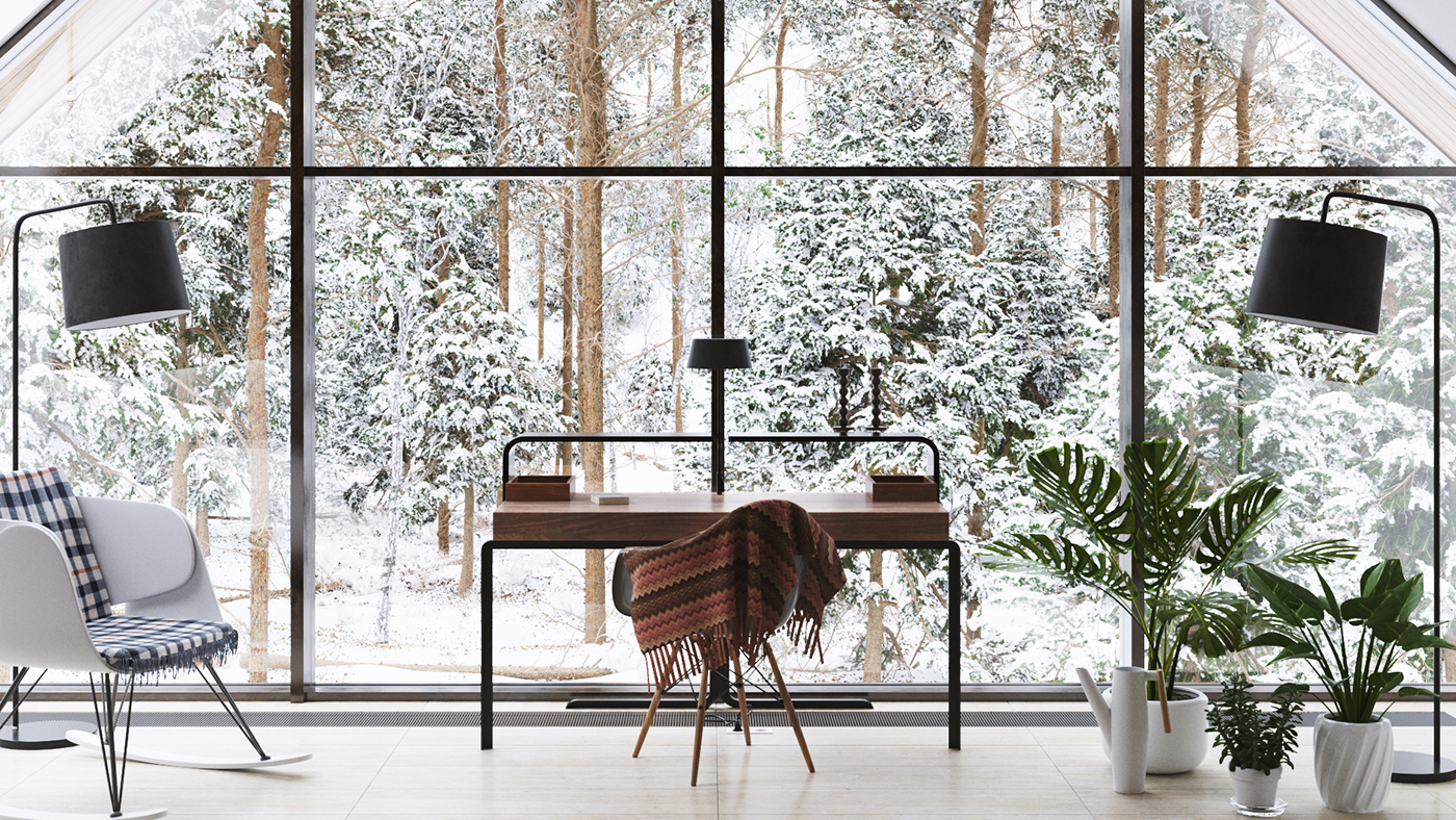 visualization blender octane house bedroom Russia forest architecture Render master bedroom