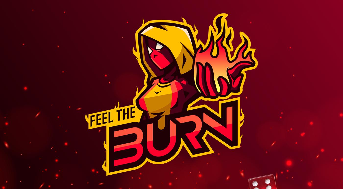 mascot logo depicting a fiery girl character