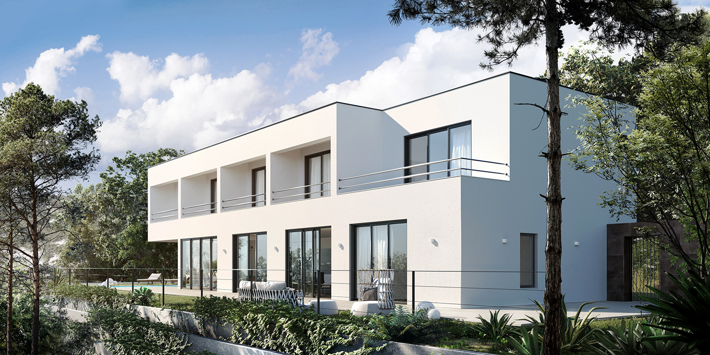 3ds max architecture corona render  exterior Render vacation house visualization