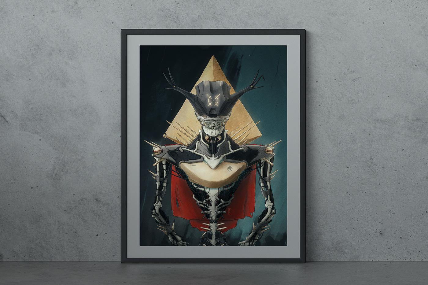 print ILLUSTRATION  skeleton iPad priest skull Cyberpunk religion artificial intelligence