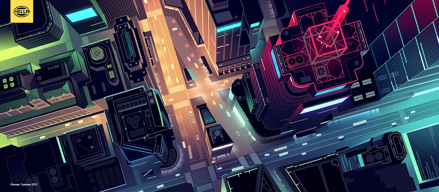 ILLUSTRATION  Event Cars vector Affinity colours light night city mobility