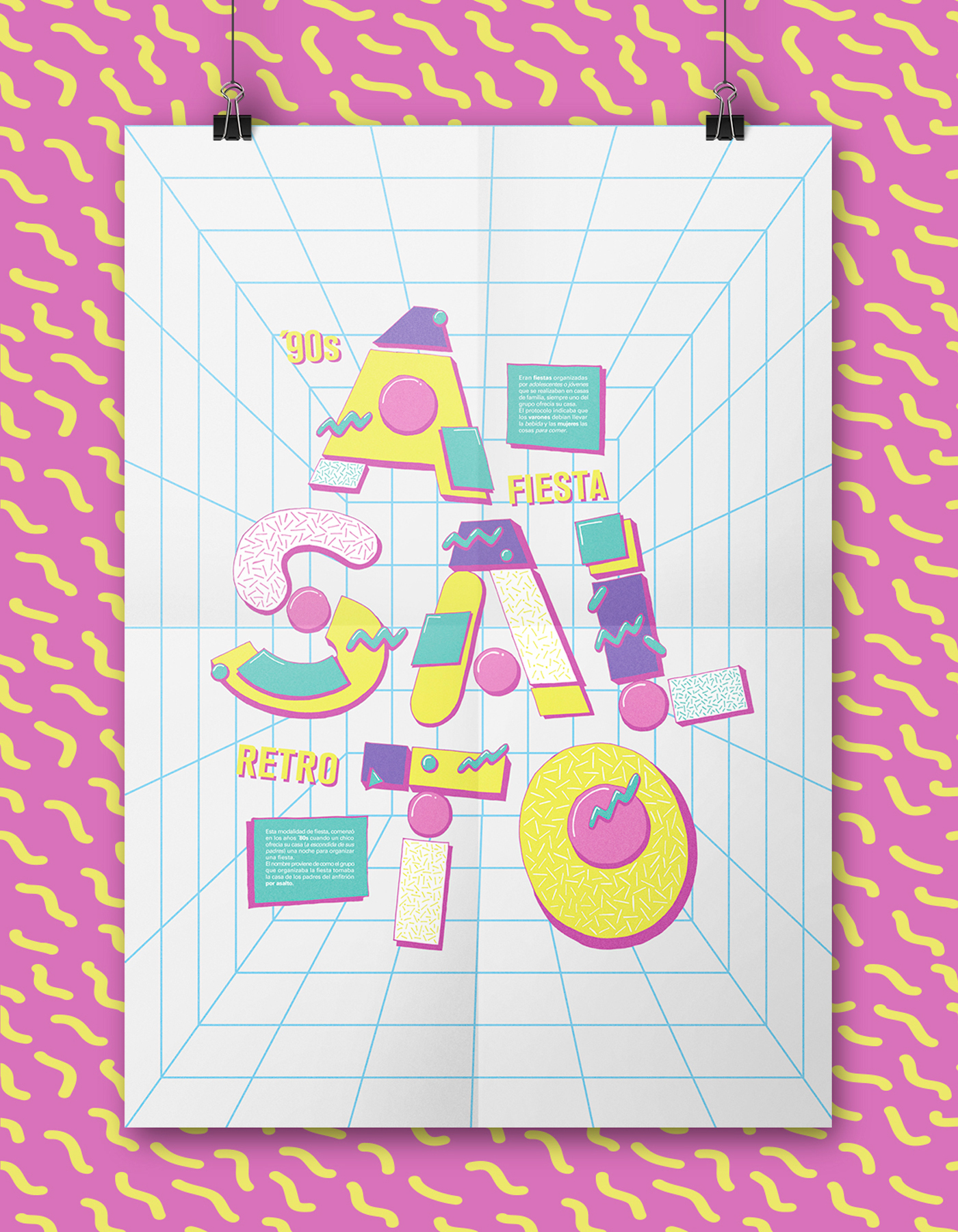 90s 80s Memphis fiesta tipografia poster cosgaya