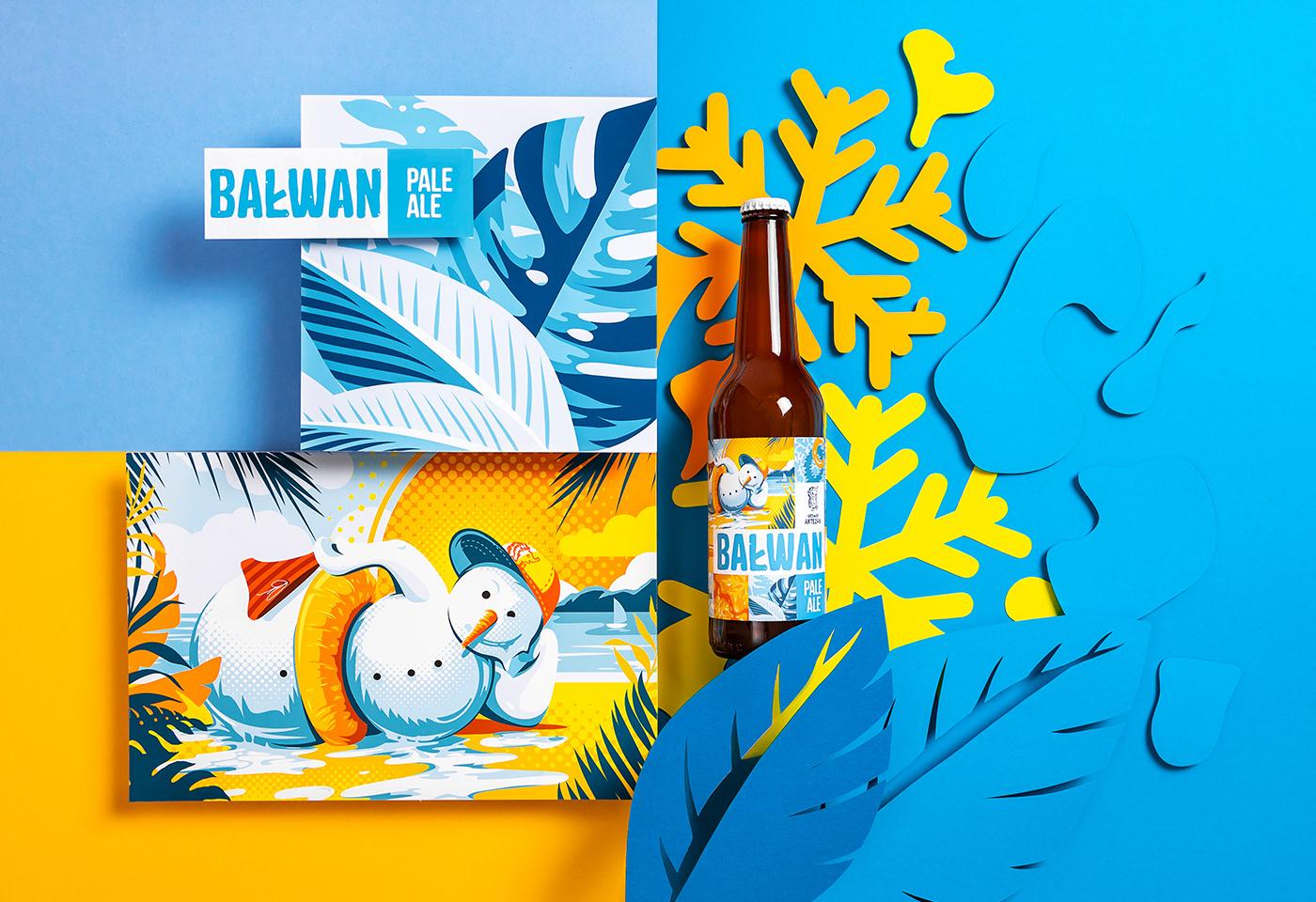 beer branding  Packaging papercraft brand brewery bottle summer colors ILLUSTRATION