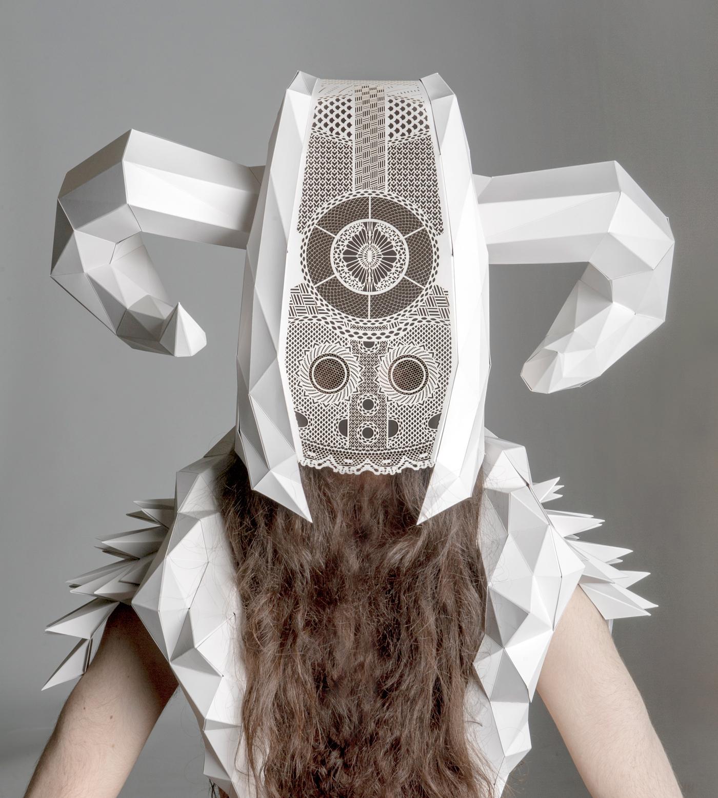 Arjo Wiggins paper craft mask viking laser cutting Helmet pattern contest edouard voyer Low Poly Horn