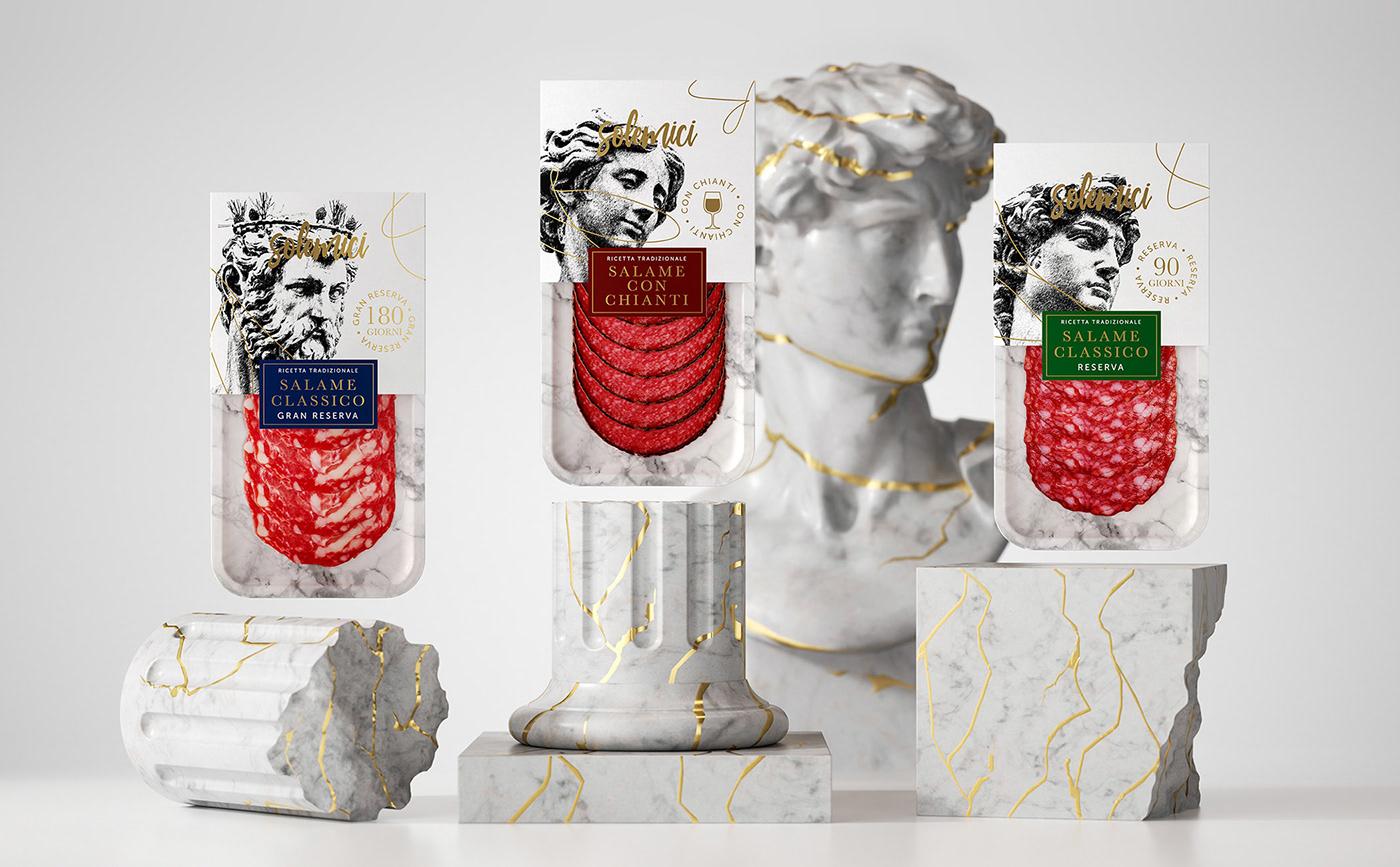 branding  Italy Meat Delicacies Packaging Renaissance salame салями упаковка