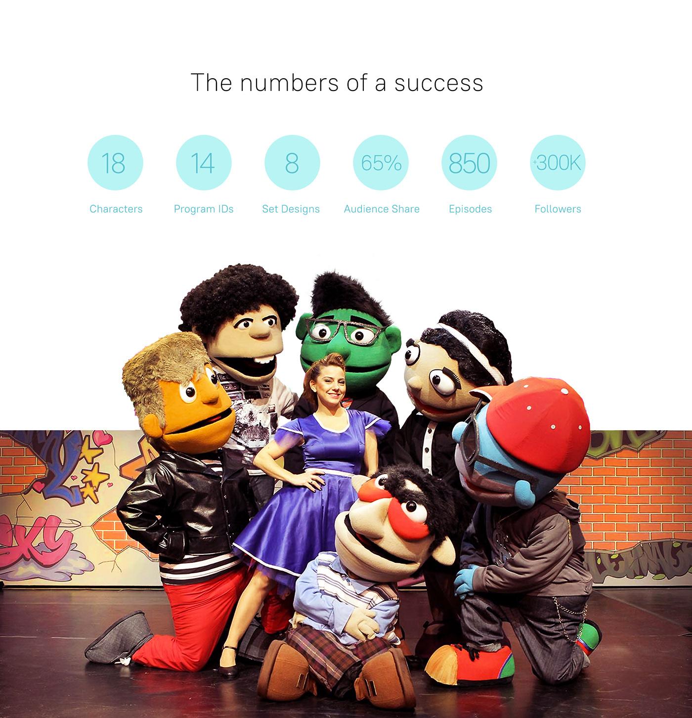 caricature   Case Study Character design  graphic design  ID puppets tv TV content design