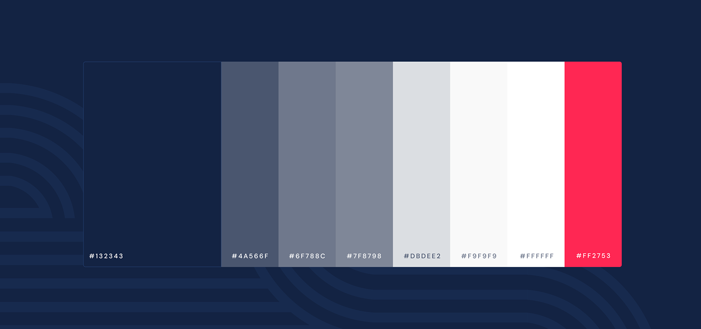 Color palette of Kapreon branding. Blue shades with red and white shades.