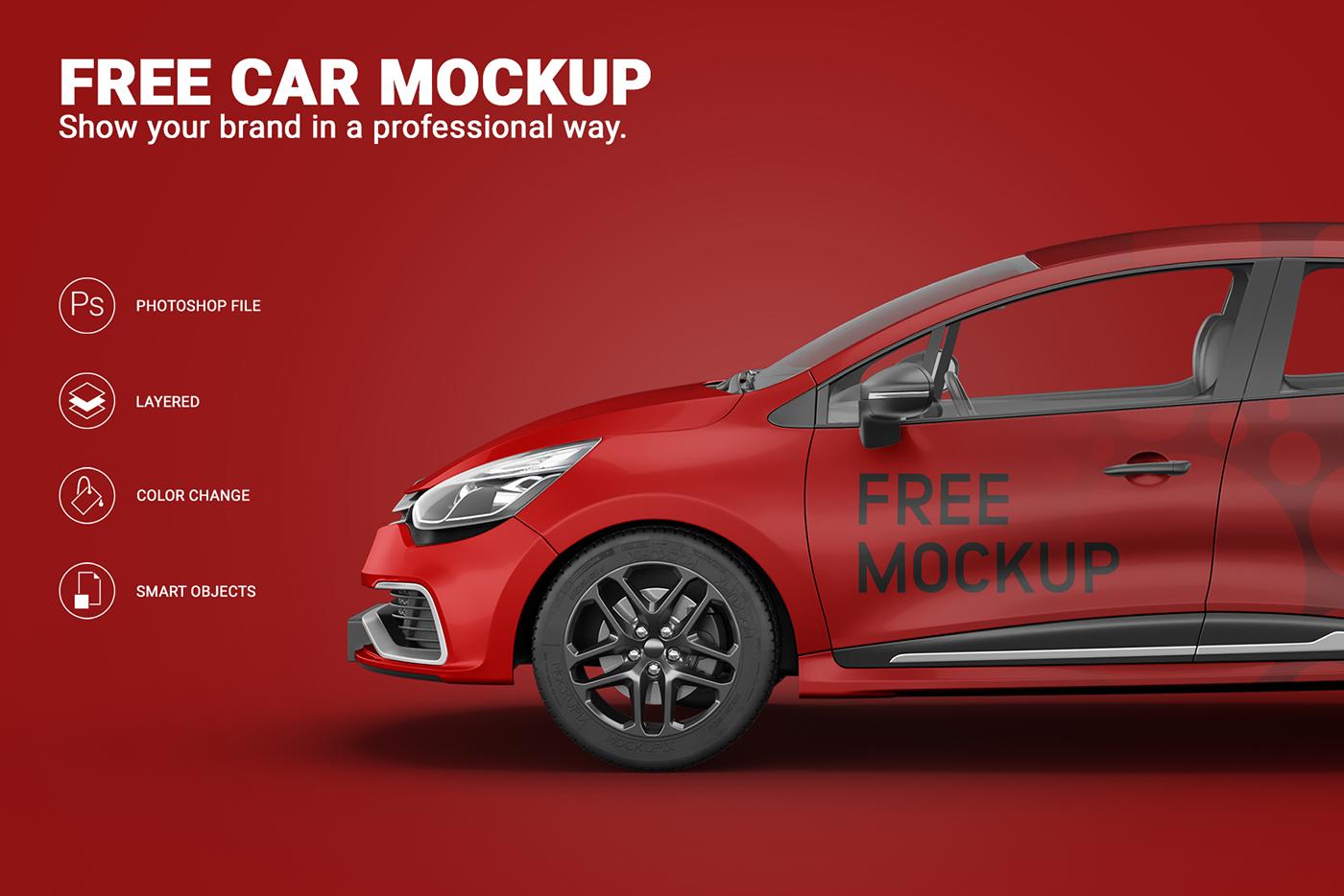 Vehicle mockup car free template wraps branding  advert photoshop identity freebie