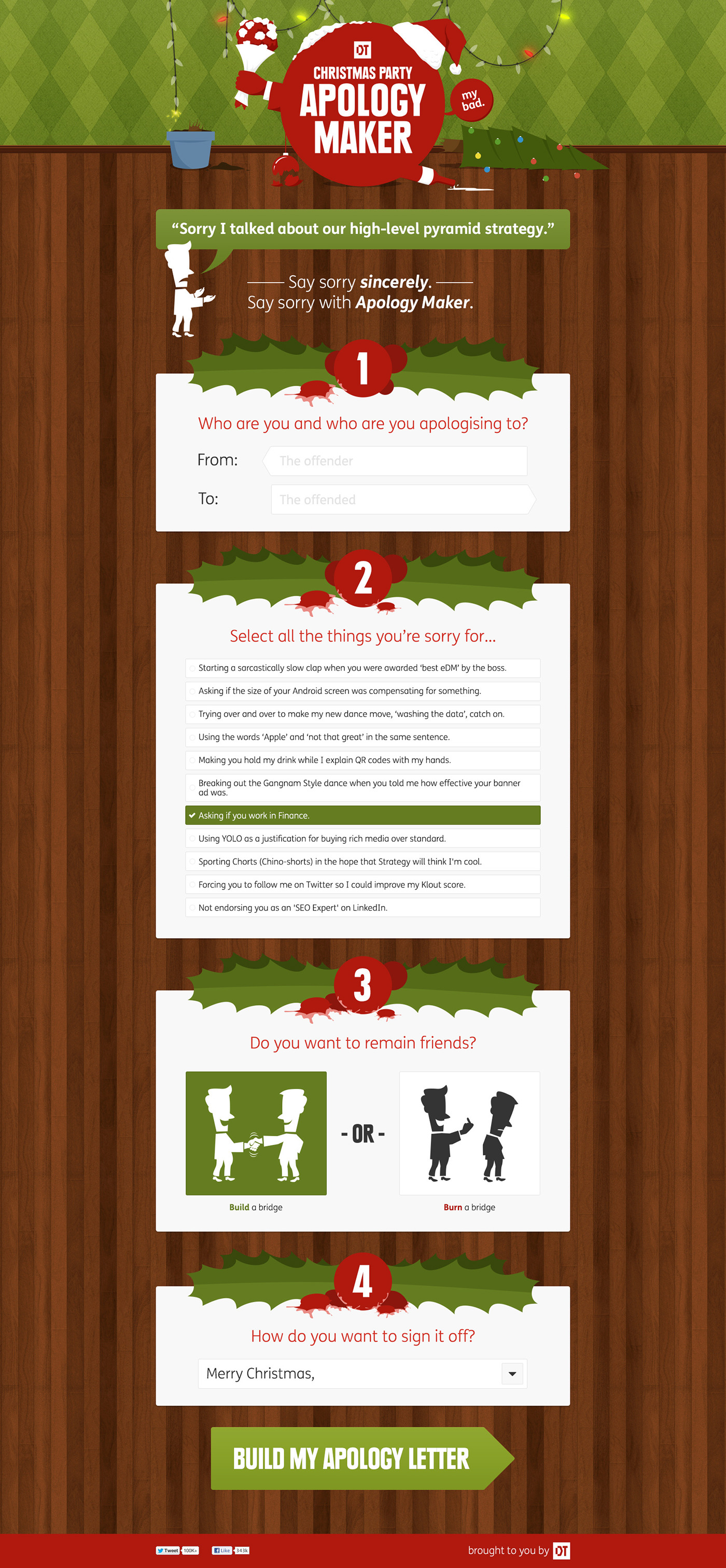 dt christmas party apology maker on behance