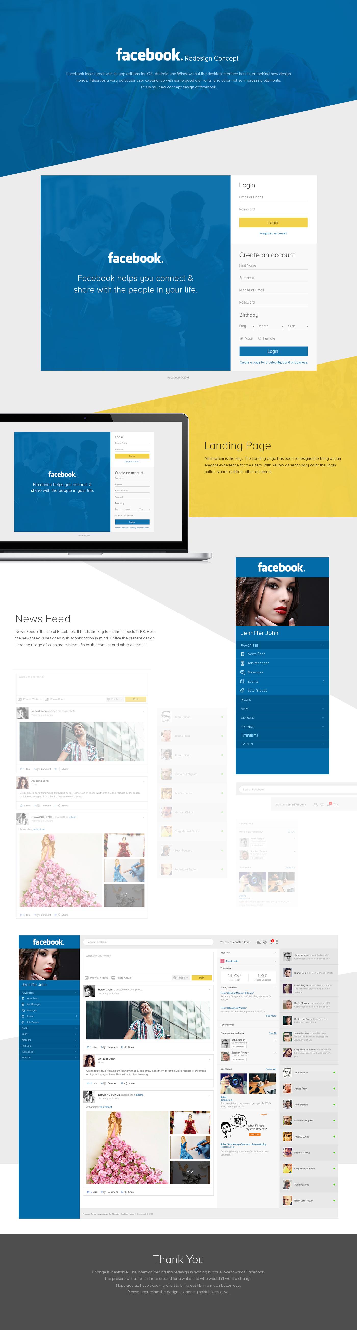 facebook redesign Facebook Redesign Concept concept design Redesigning concept Facebook Redesigning Concepts Website Design news feed login page