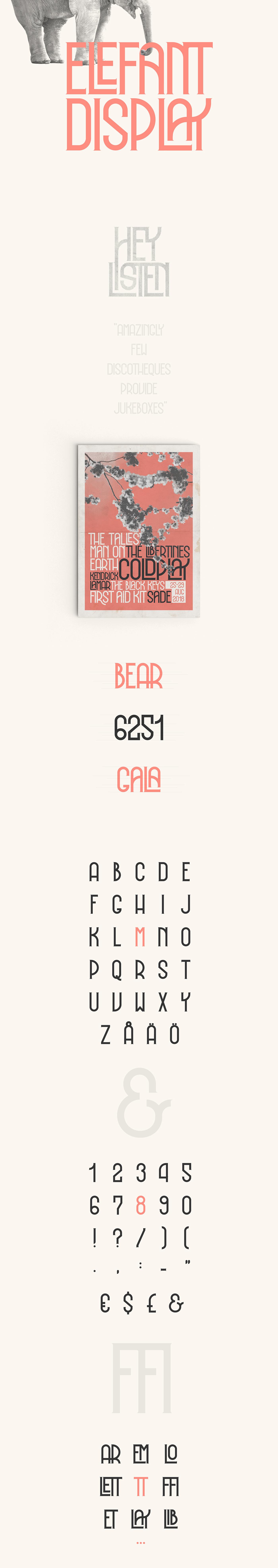 font type vintage Retro poster elegant geometric ligature band music