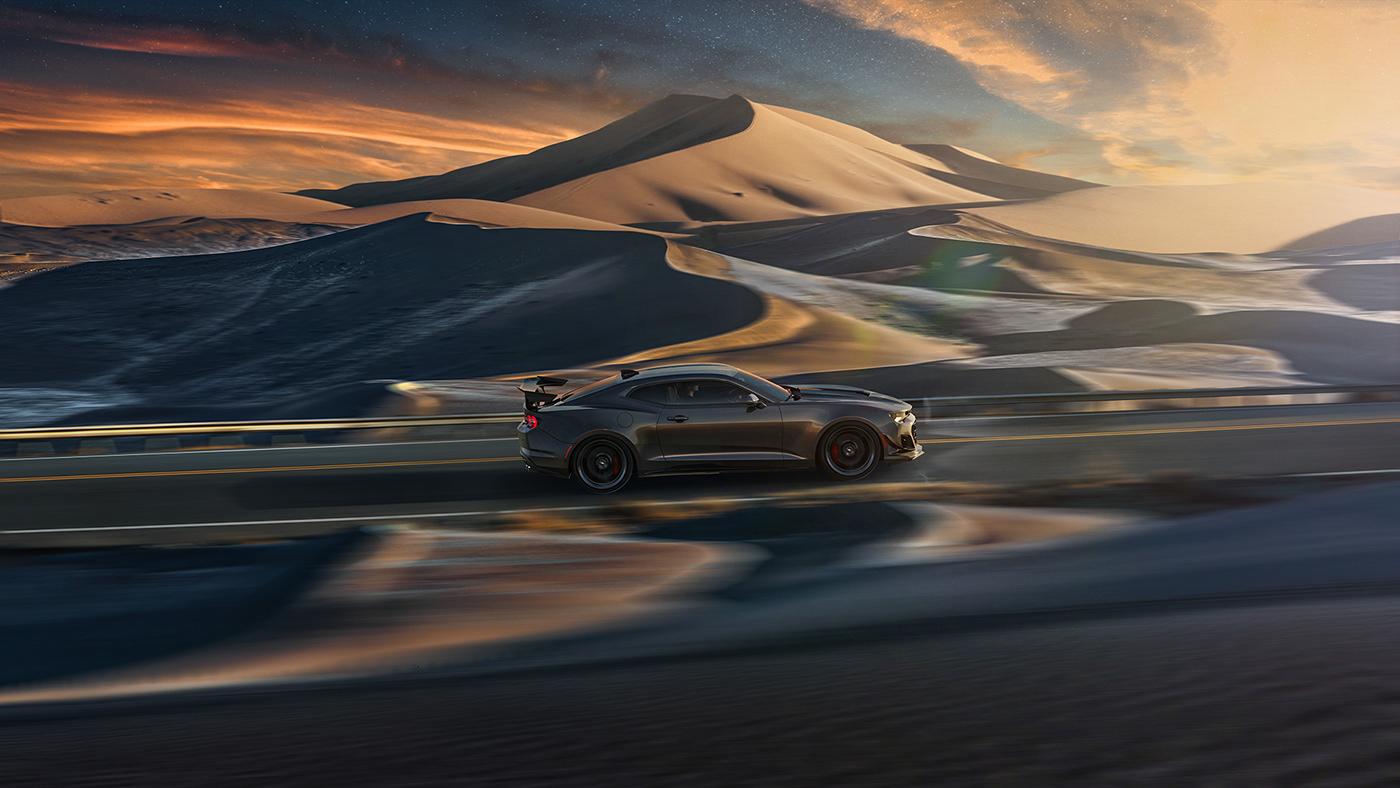 Adobe Portfolio automotive   beauty camaro car CGI dunes Landscape Photography  retouch