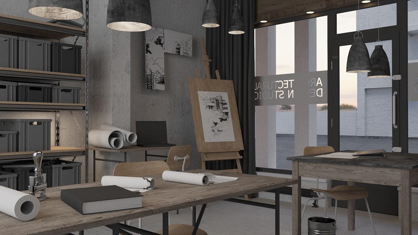max et corona renderer sur lintrieur et lamnagement dune agence d architecture travail de composition mise en scne clairage denvironnement