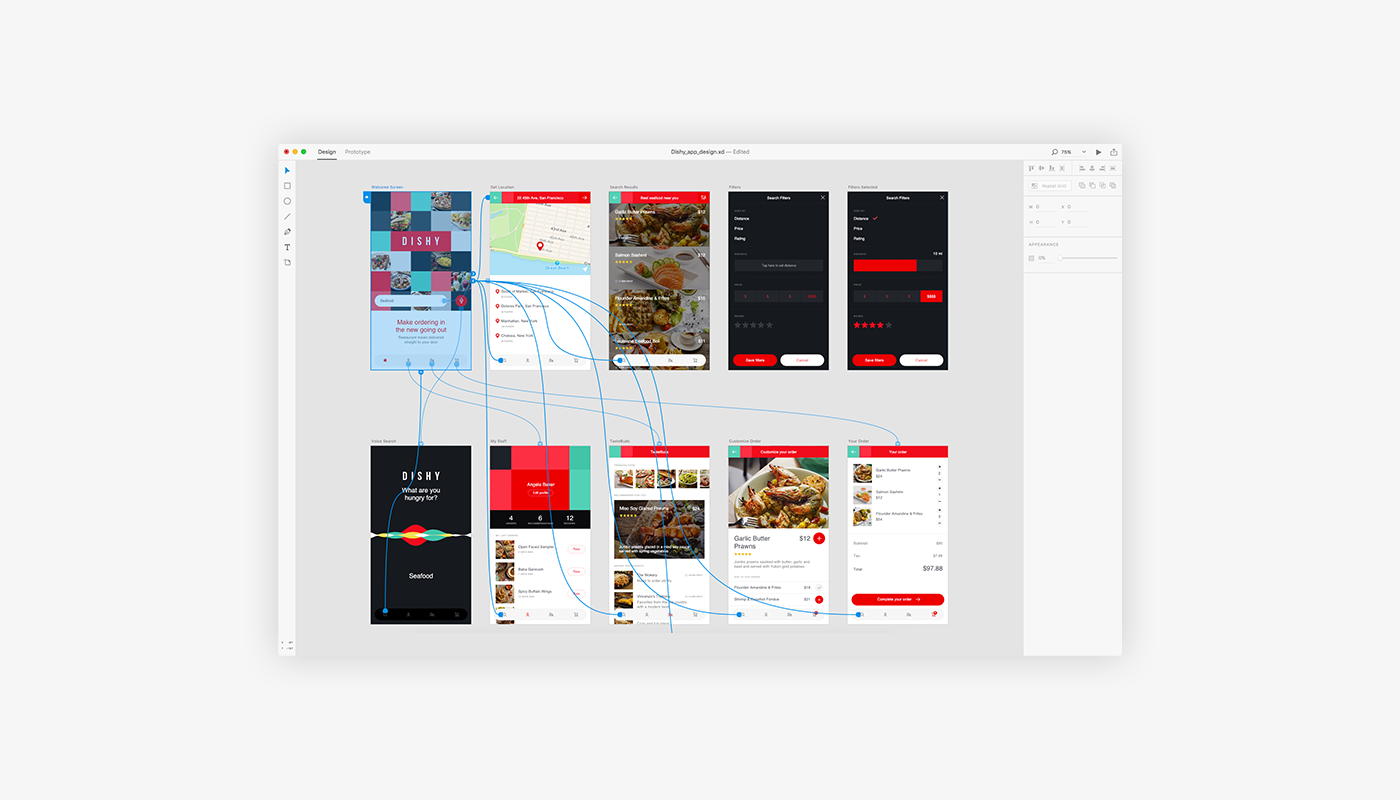 adobe Project Comet Comet xD Experience design official app Food  dishy delivery