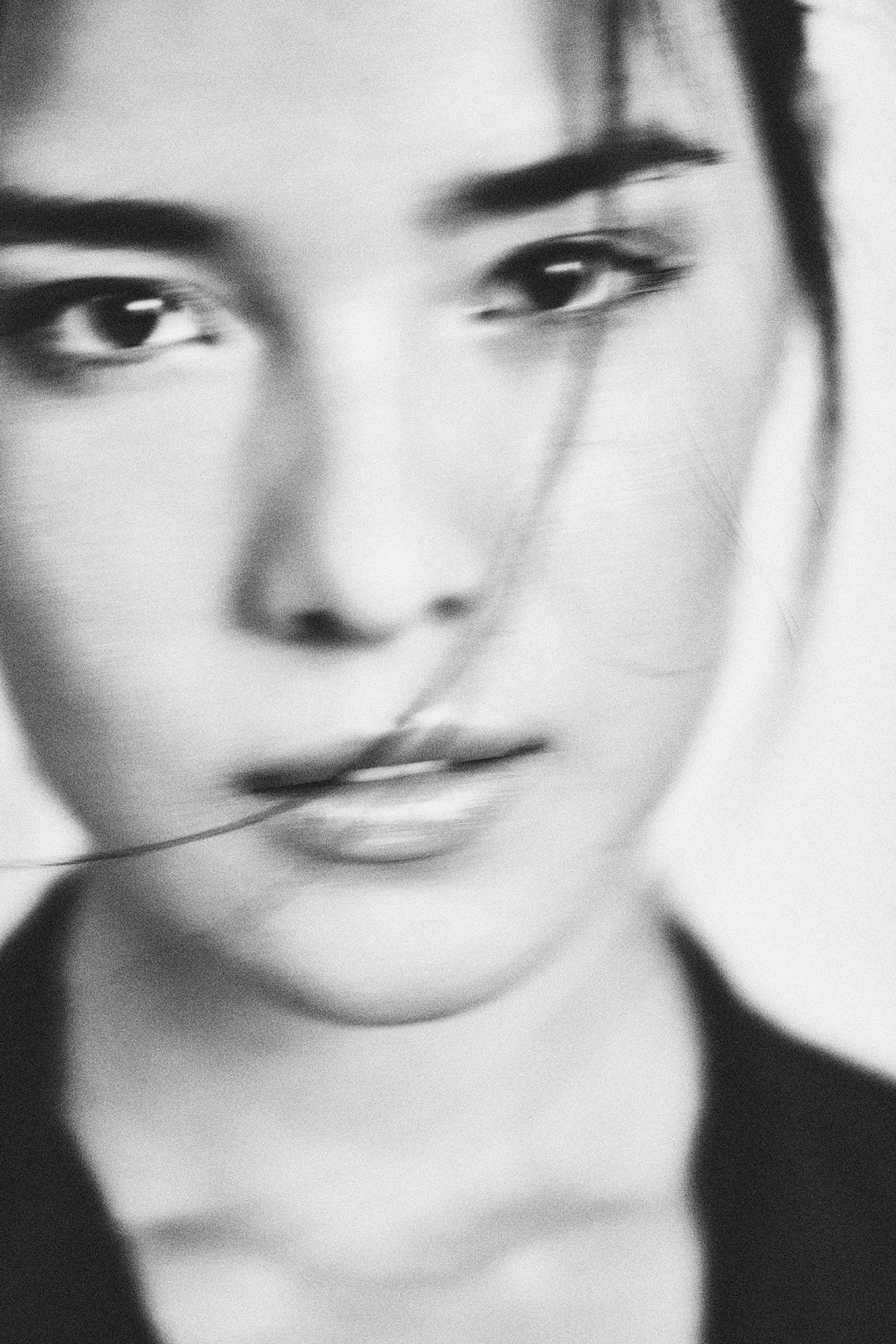 black and white blur fashion portrait portrait studio vintage