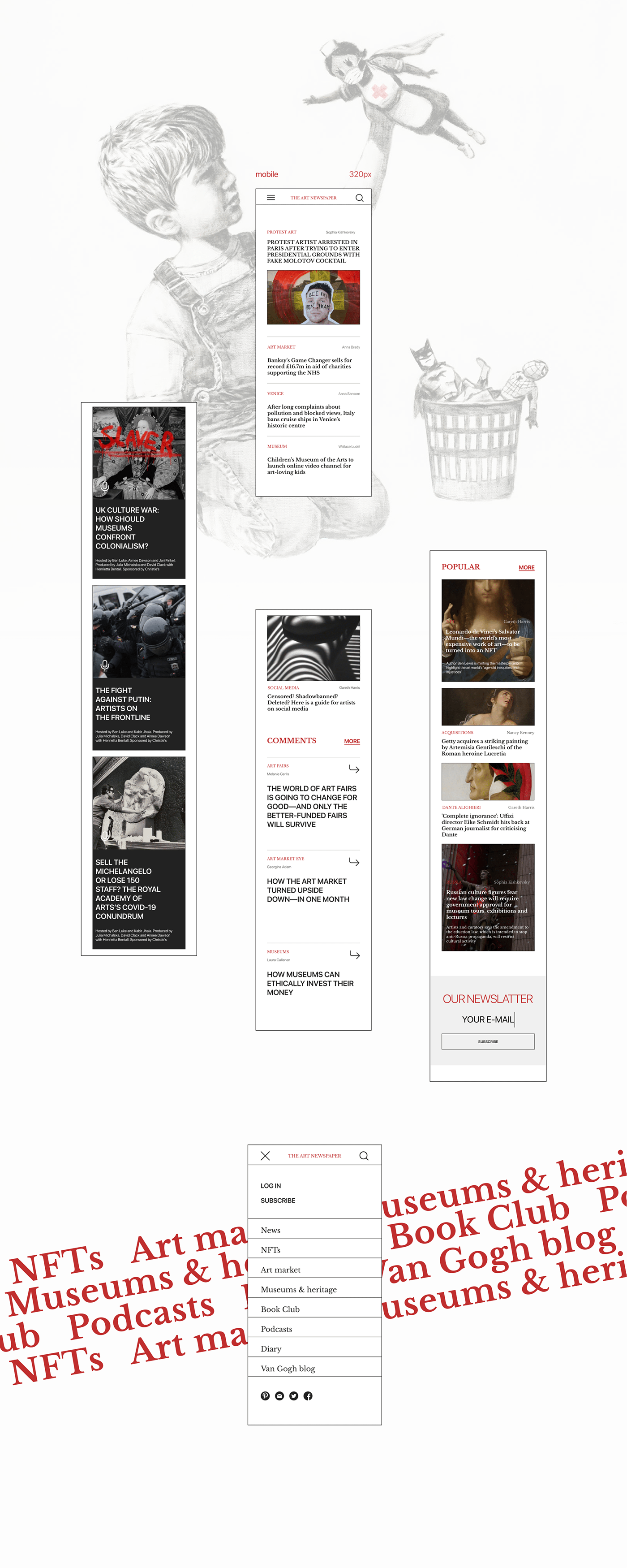 art news news website nft the art newspaper UI ux ux/ui Web Design  Website