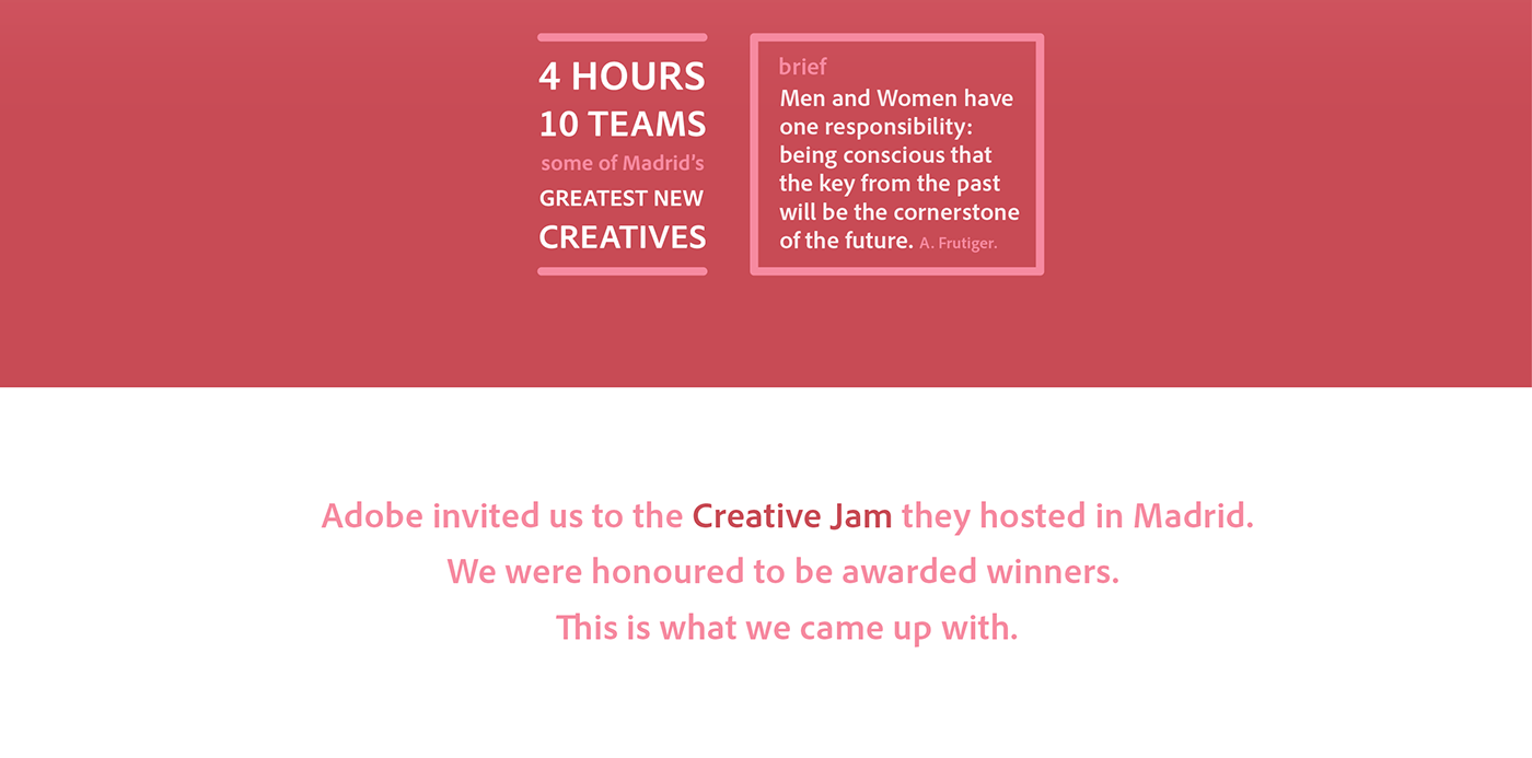 adobe creative jam madrid meetup motion graphics future past frutiger challenge prize winner