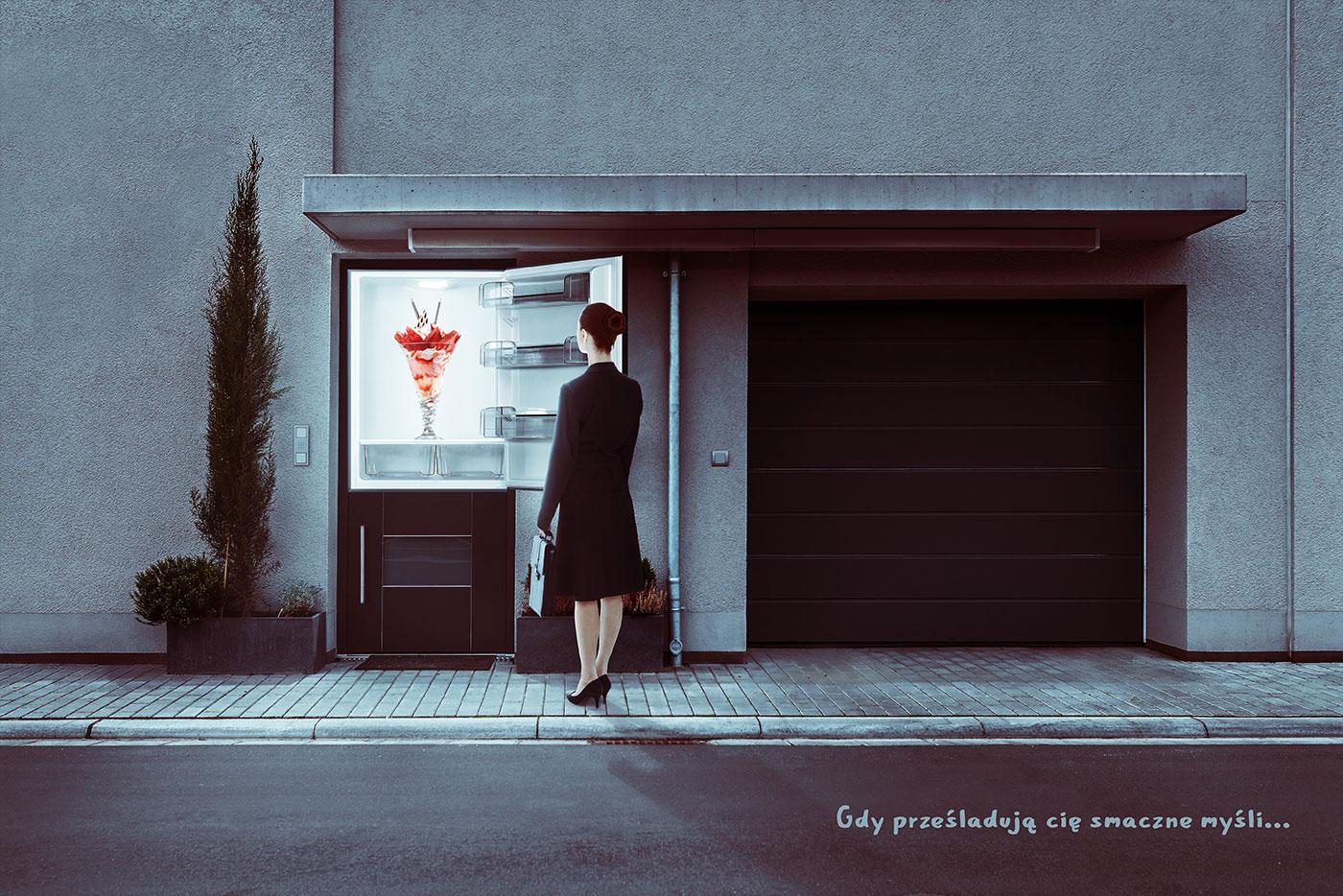 Lodówka garaż deser lody mysli smaczny reklama thoughts ice cream refrigerator