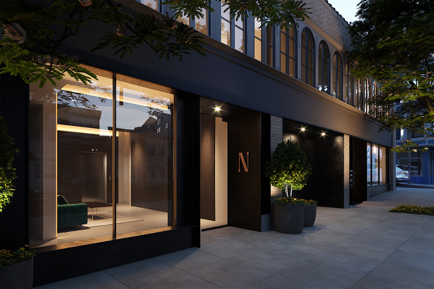 architecture black building environment details development interior design  noir privacy Renders residential