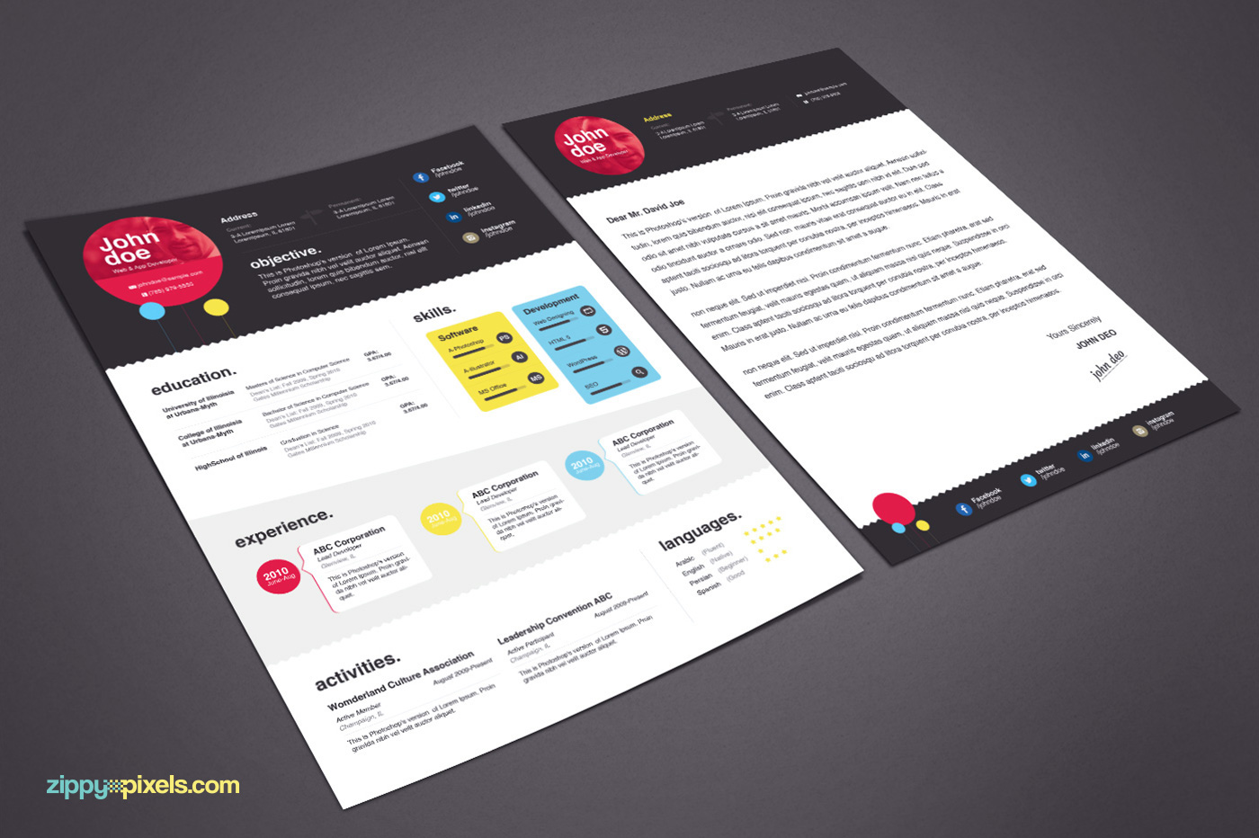 Creative Resume Template Cover Letter On Behance