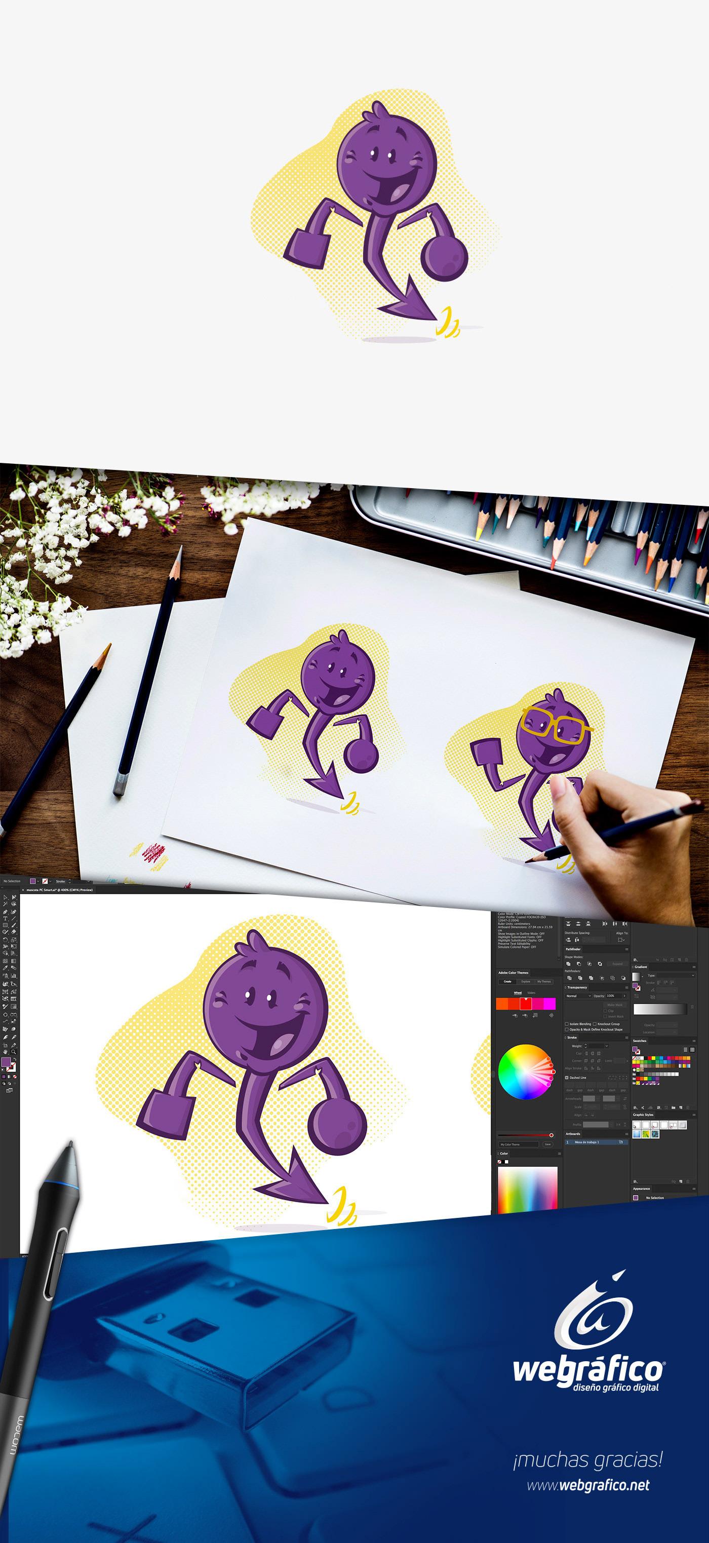 Mascota webgrafico ilustracion miguel colunga mexico pc smart corporate mascot