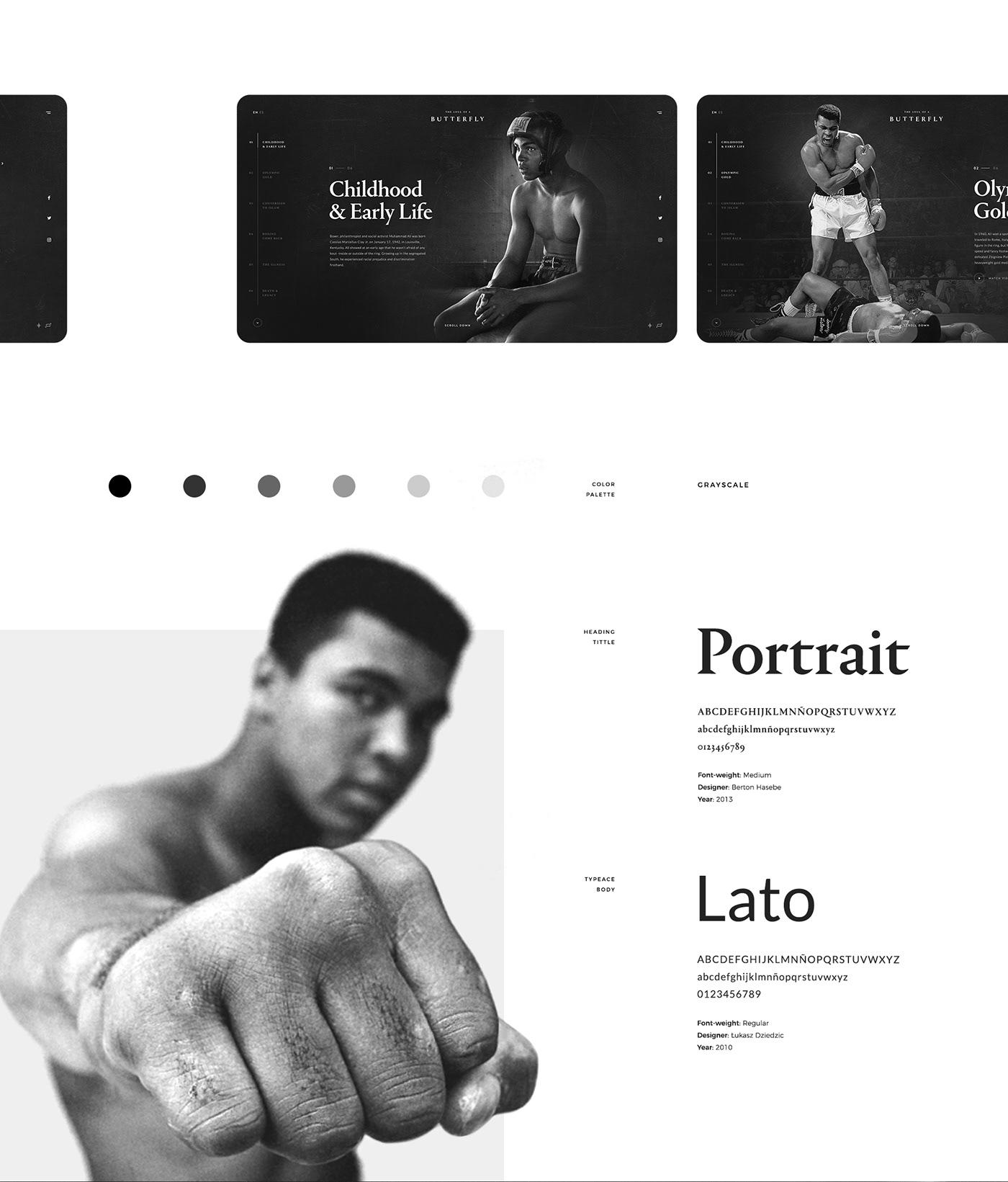 muhammad ali sport art direction  Website interaction Web black white UI/UX Web Design  design concept