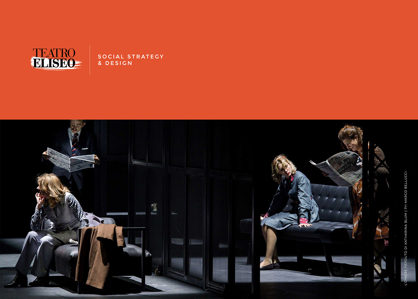 desing facebook format instagram orange post social Stories Teatro Eliseo theater