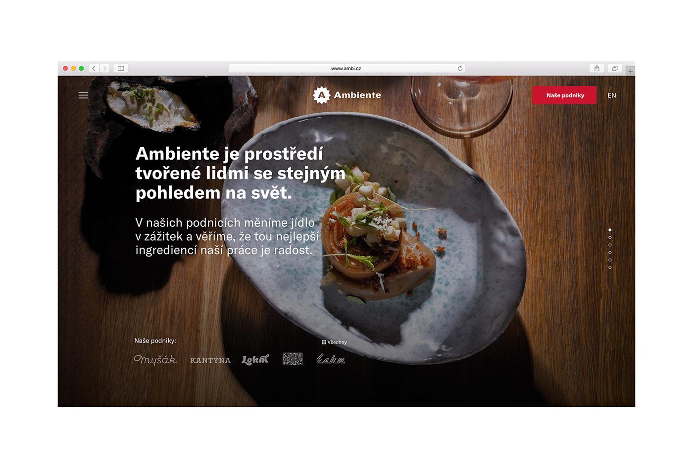 Webdesign ambiente AWWWARDS restaurant design najbrt photo ux www