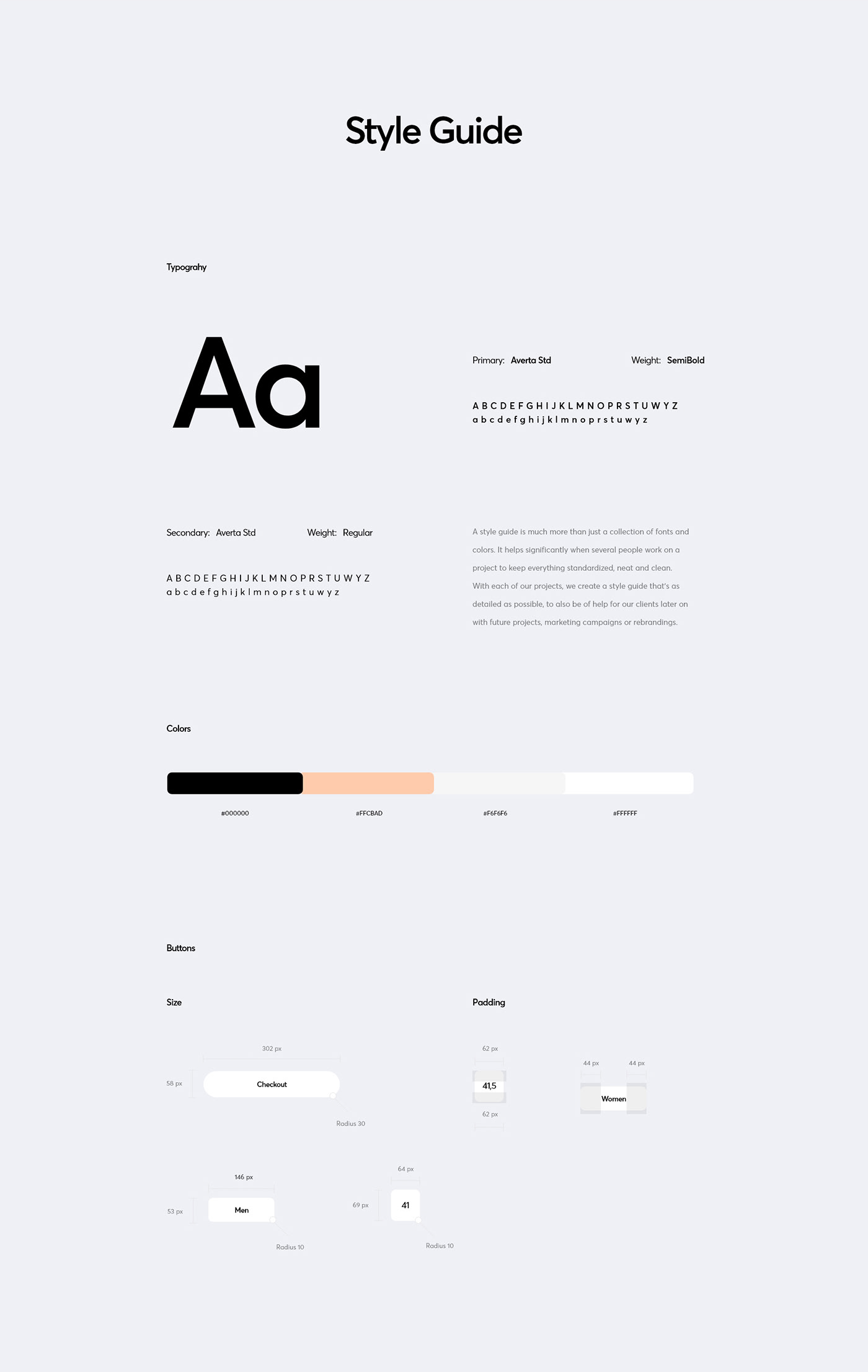 A short style guide of fonts and colors used in this project