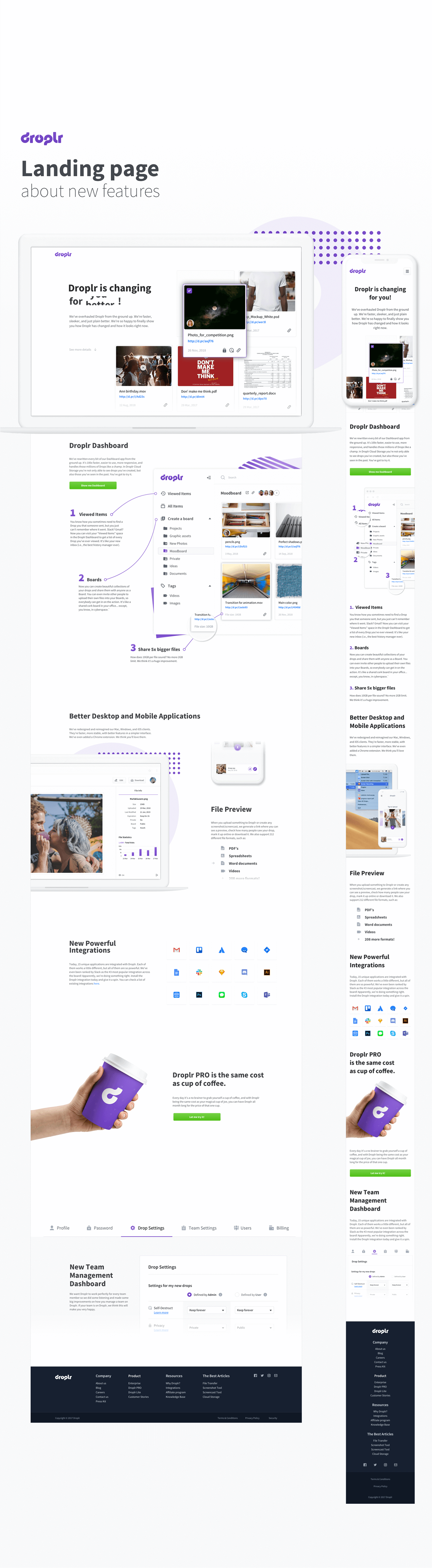 Droplr geometric Website Responsive mobile violet White UI ux landing