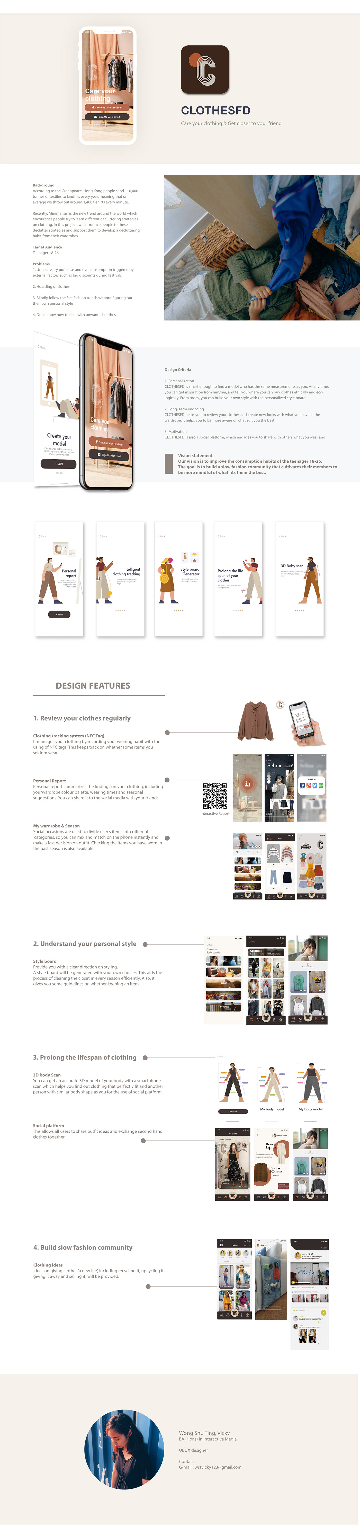app clothes design Interaction design  Minimalism slowfashion UI ux