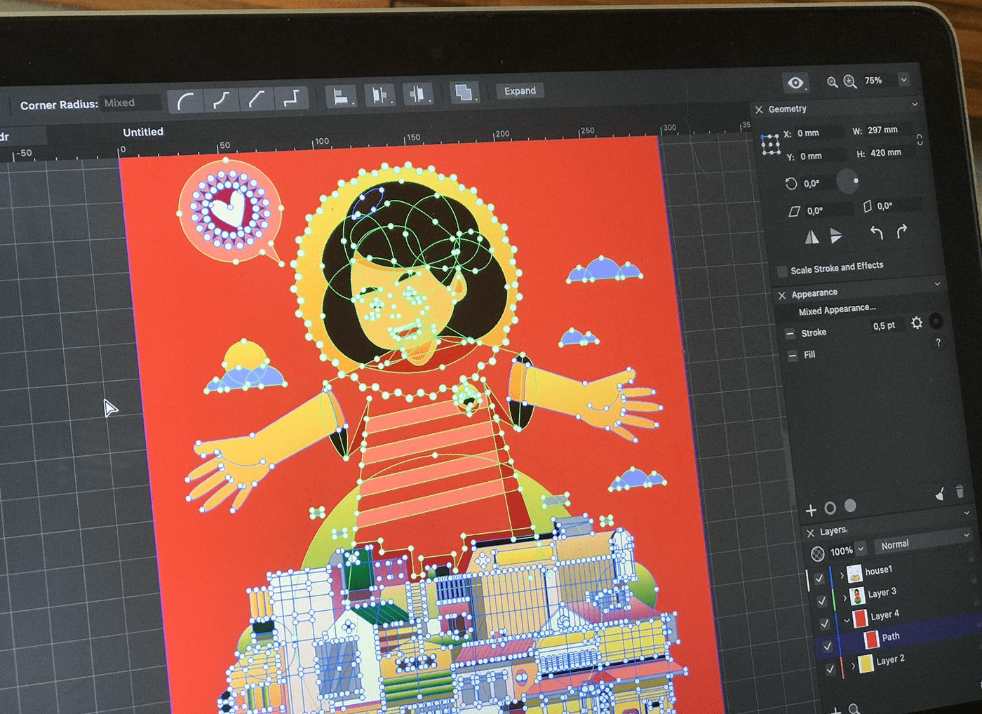 amadine architecture building children city color ILLUSTRATION  software subtle vector