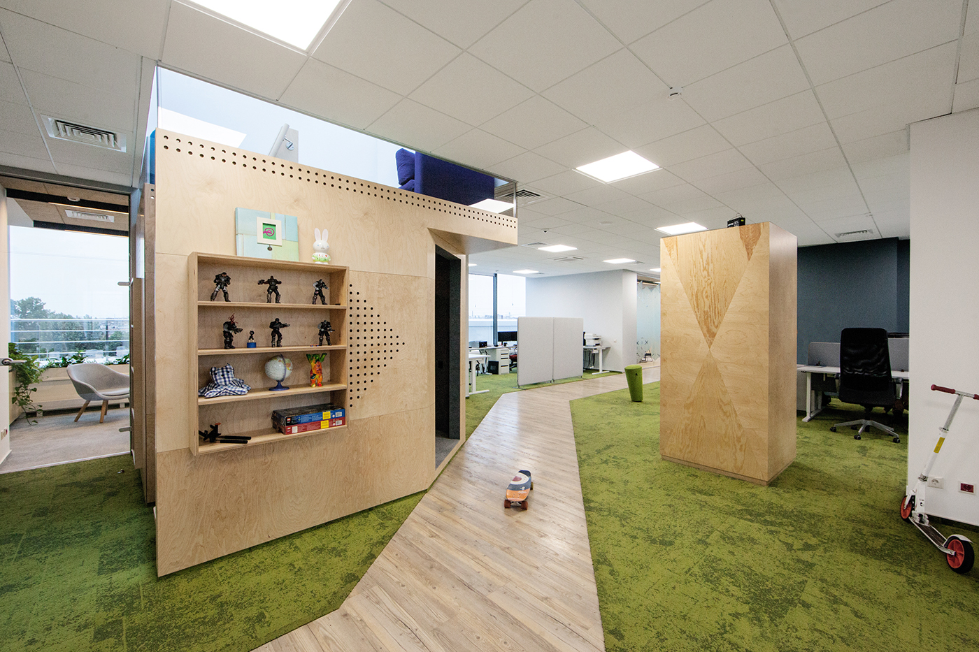 natural materials Open Space Office Design cool office IT office eco plywood Office Saint Petersburg