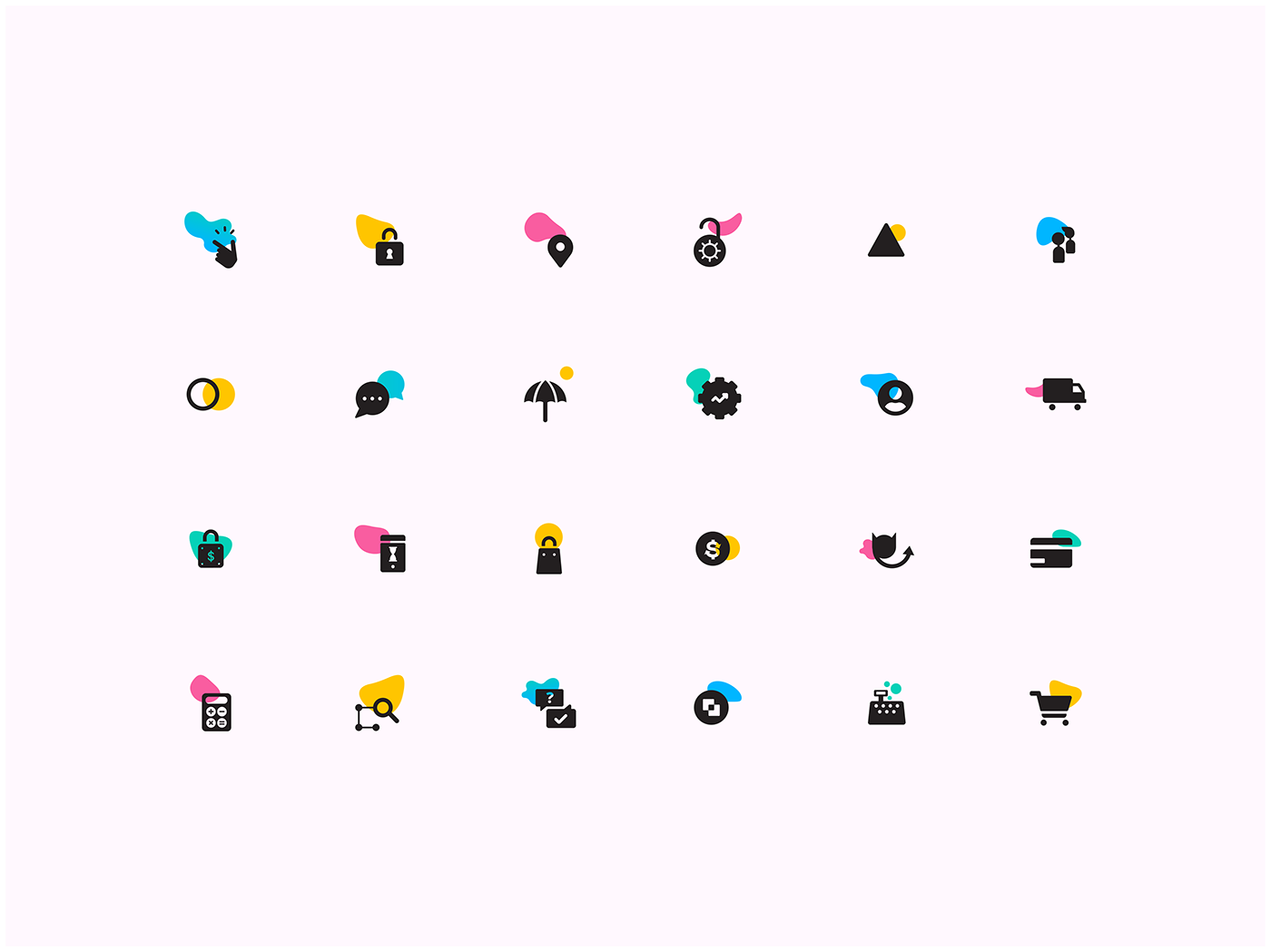 An icon set for an online transaction mobile app.