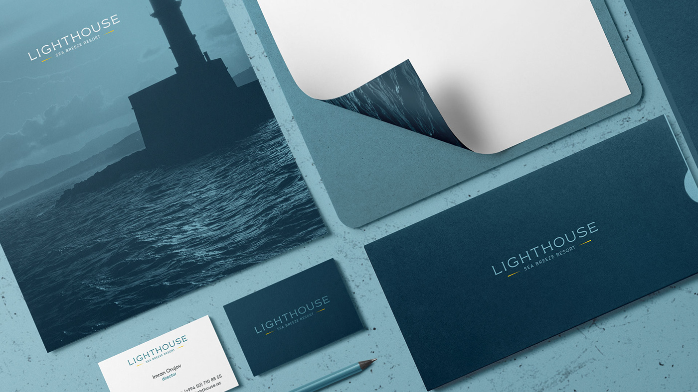 Residence lughthouse sea hotel Office Braning Typographic Logo simple