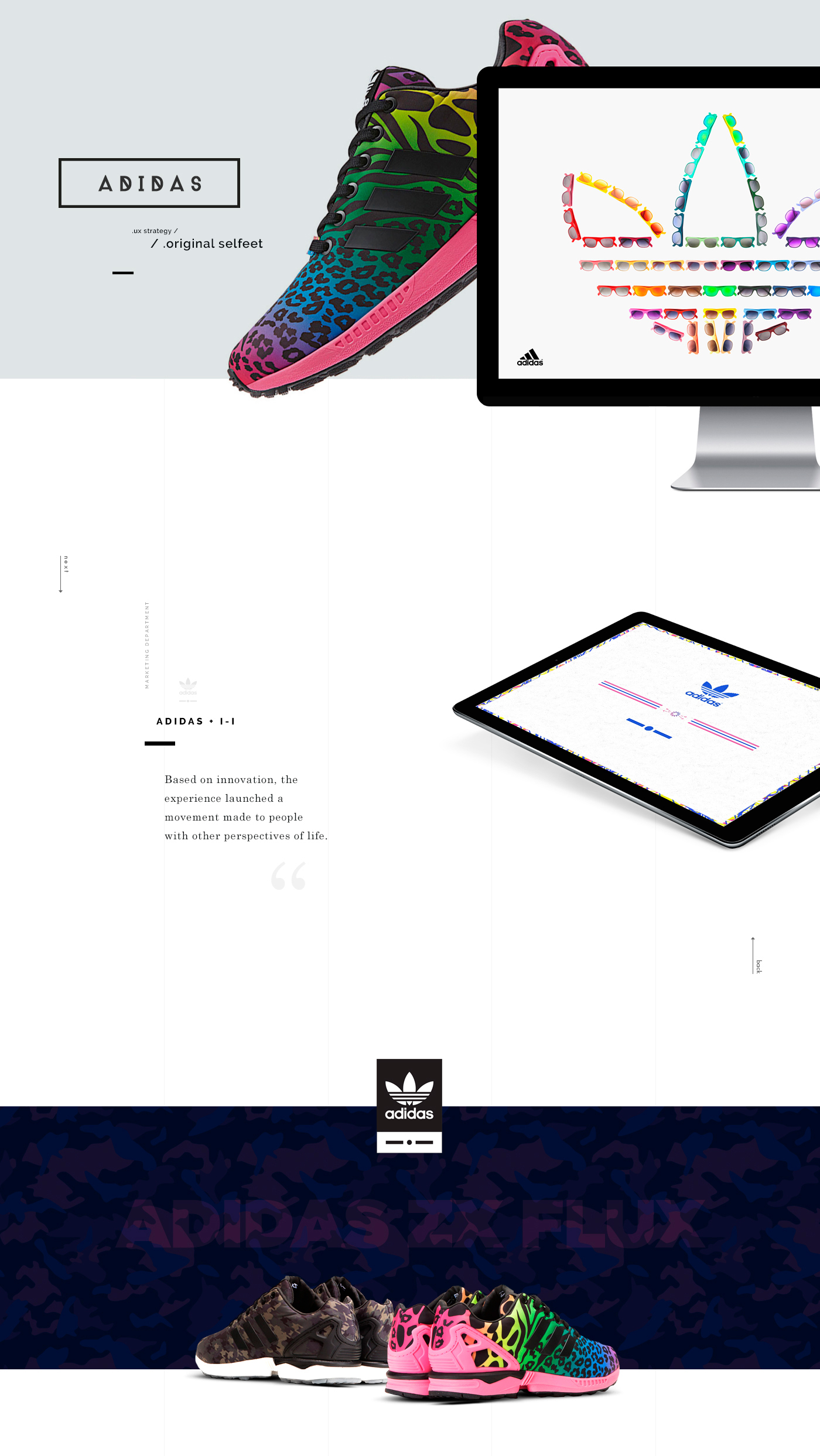 adidas Experience experiencedesign flux zx italia Idependent ux mobile tablet store art direction colors shoes