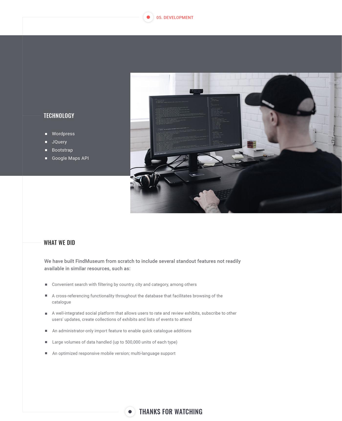 wordpress UI ux development museum Platform design jquery database Web