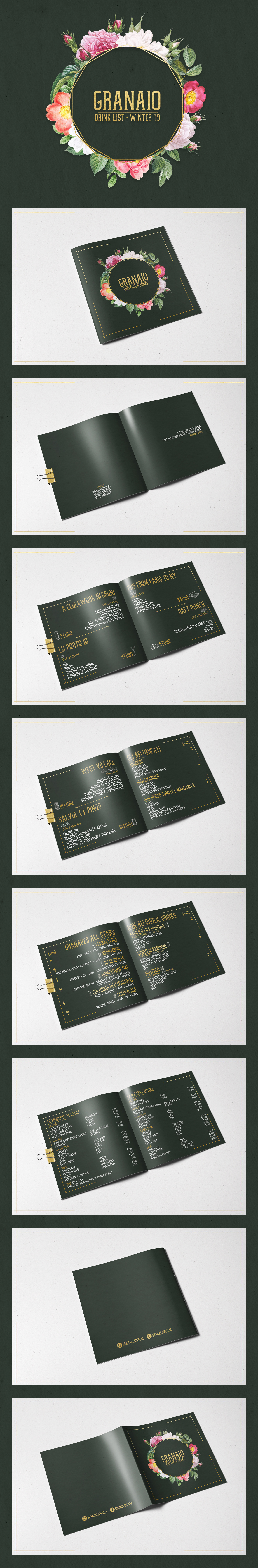 cocktails drink list graphic design  print