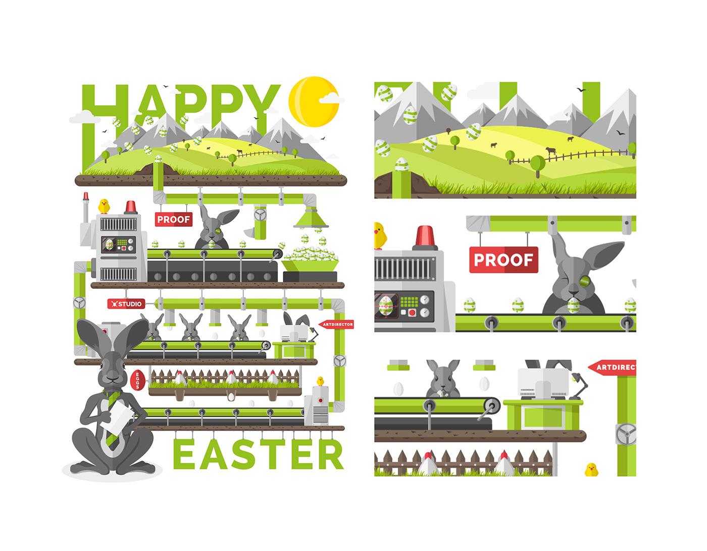 Flat design. vector. vector illustration. Easter.  landscape. Info Graphic. hero. comic hero. animals adobe live.