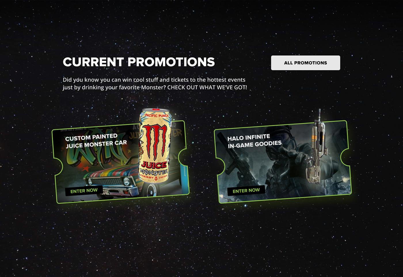 monster energy redesign website redesign Dark Design dark mode dark ui dark website monster monsterenergy Web Design