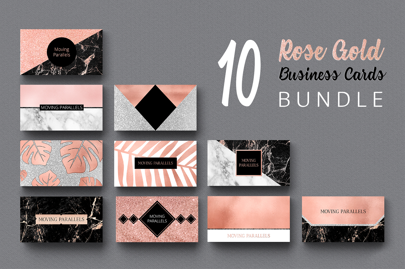 Rose gold marble foil glitter business card templates on behance rose gold business cards bundle only for 18 extended license colourmoves