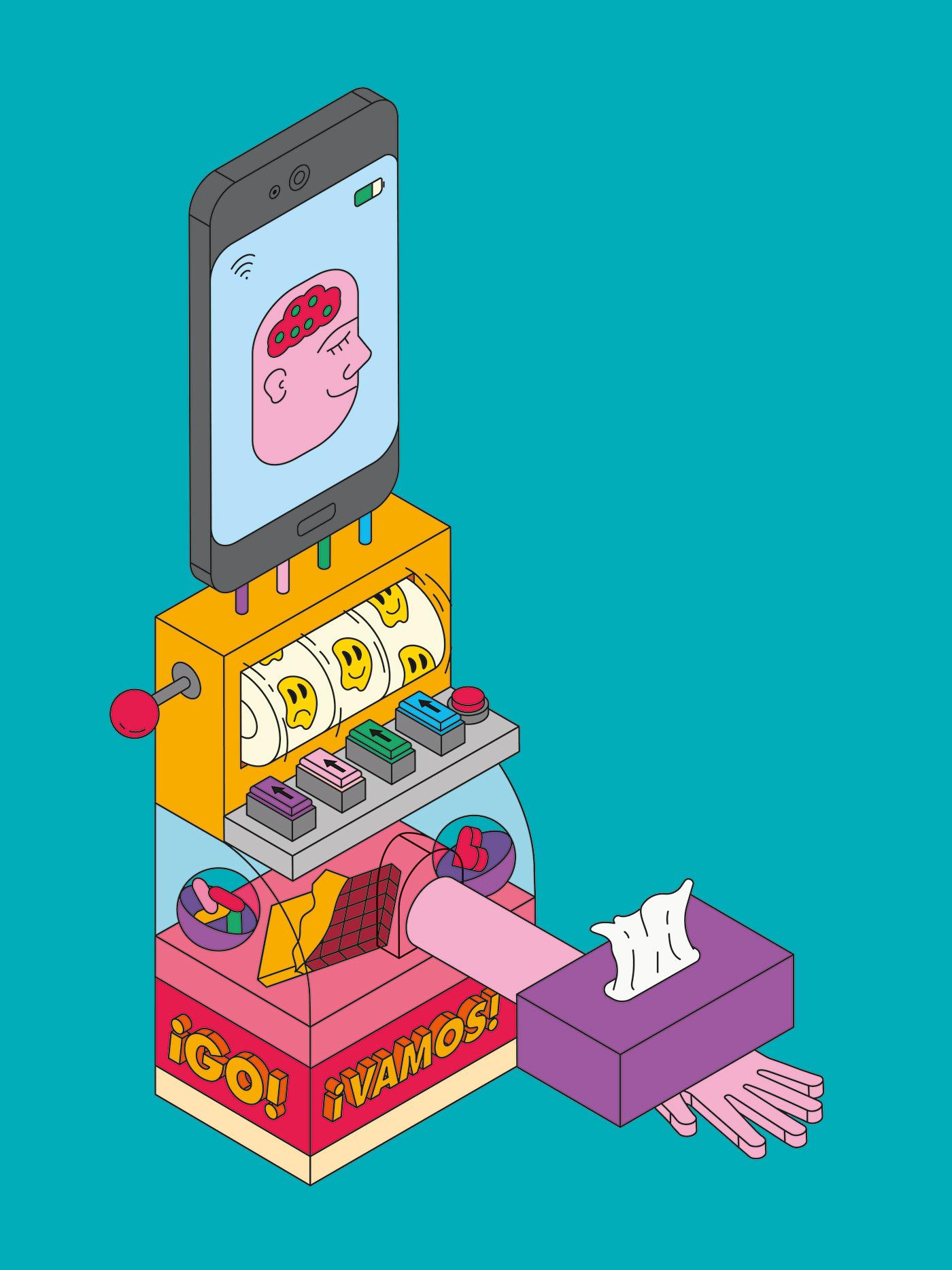 app editorial Editorial Illustration el pais ILLUSTRATION  Isometric machine magazine psicology retina