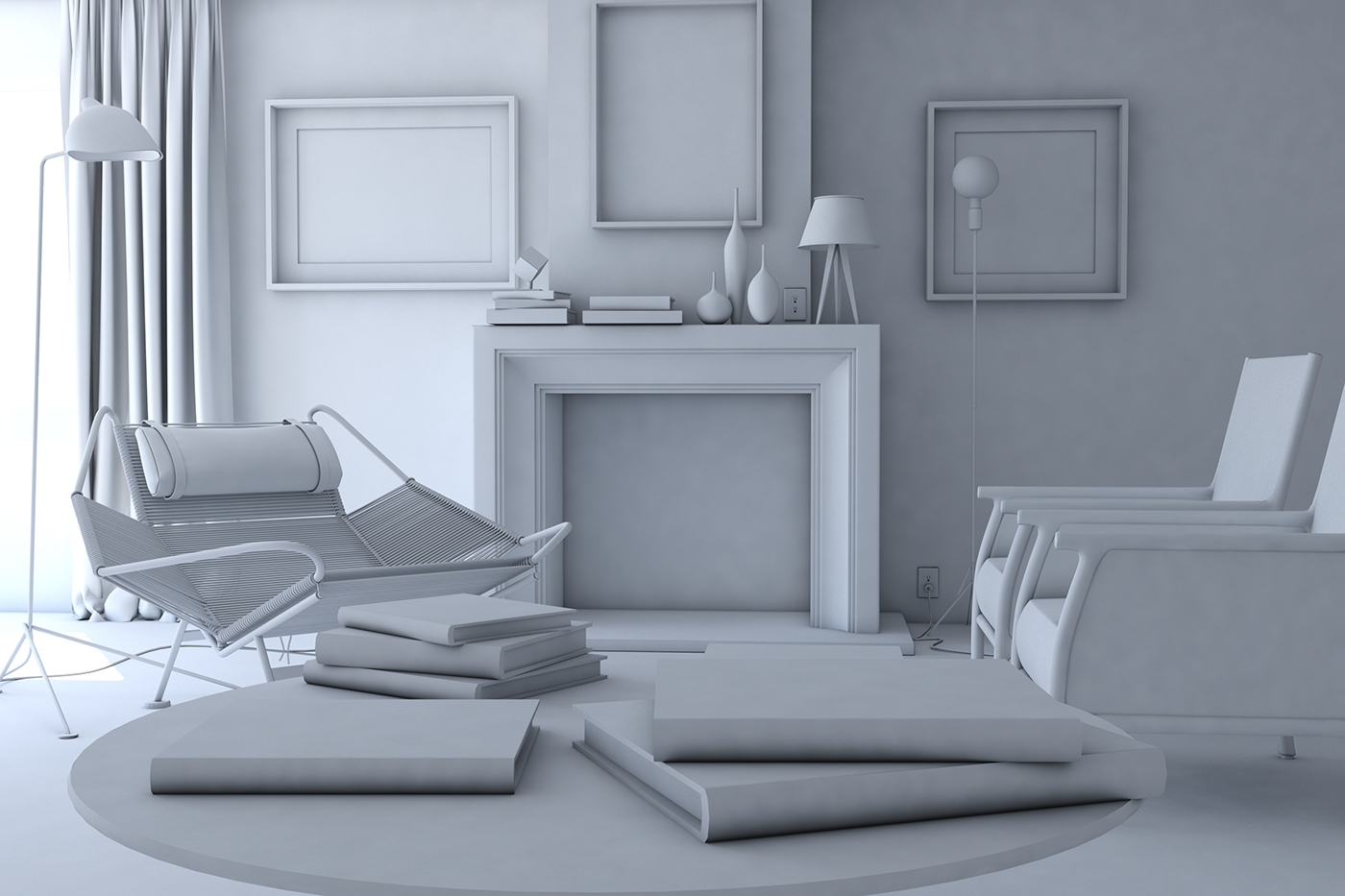 Living room interior on behance for Interior modeling in 3ds max