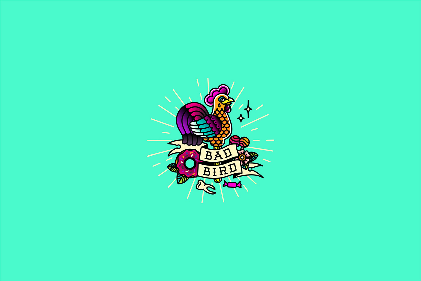 tatoo tatoo-salon logo Logotype linework lollipop cock Rooster old school badbirdink