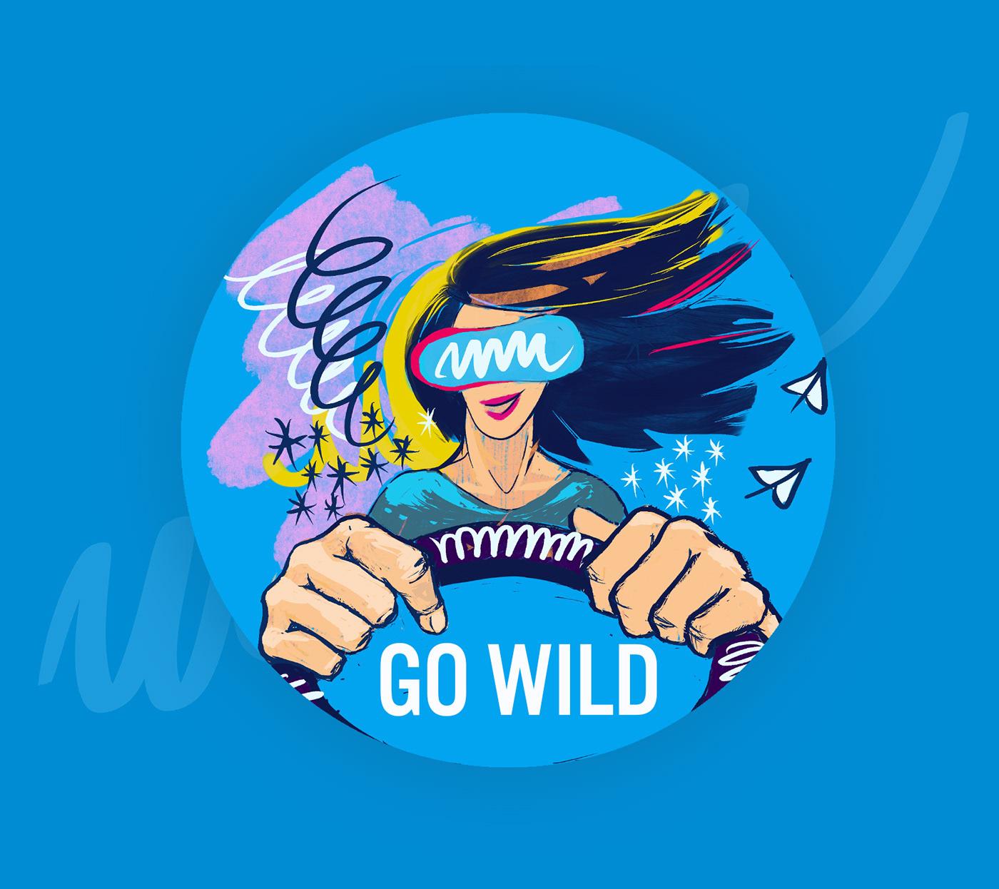 ILLUSTRATION ,Driving,vr,Virtual reality,cartoon,wild,Digital Art ,Electric Car,sticker,Playful