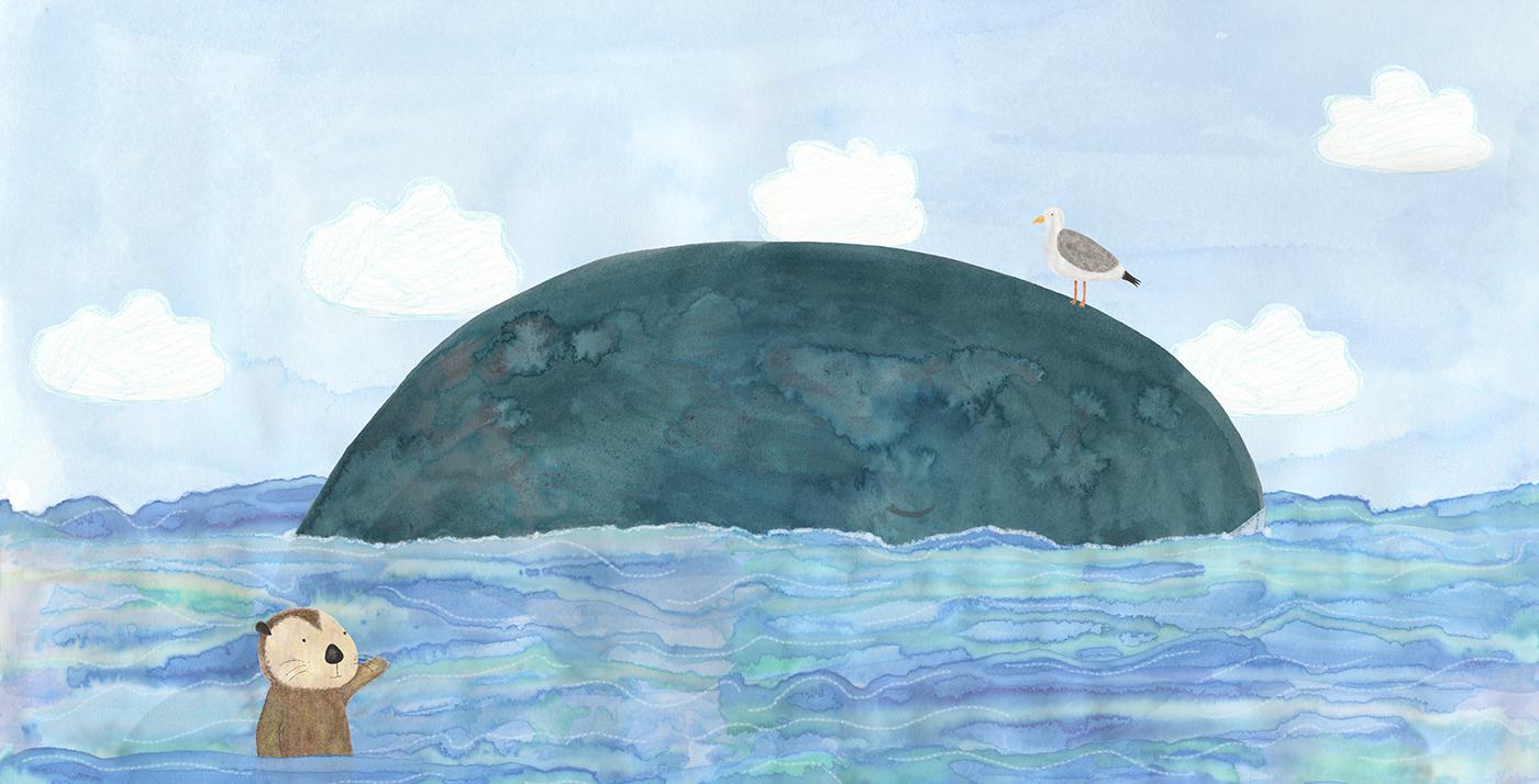 ILLUSTRATION  animals children's illustration Character design  Sea Otter lighthouse mixed media cute sea story