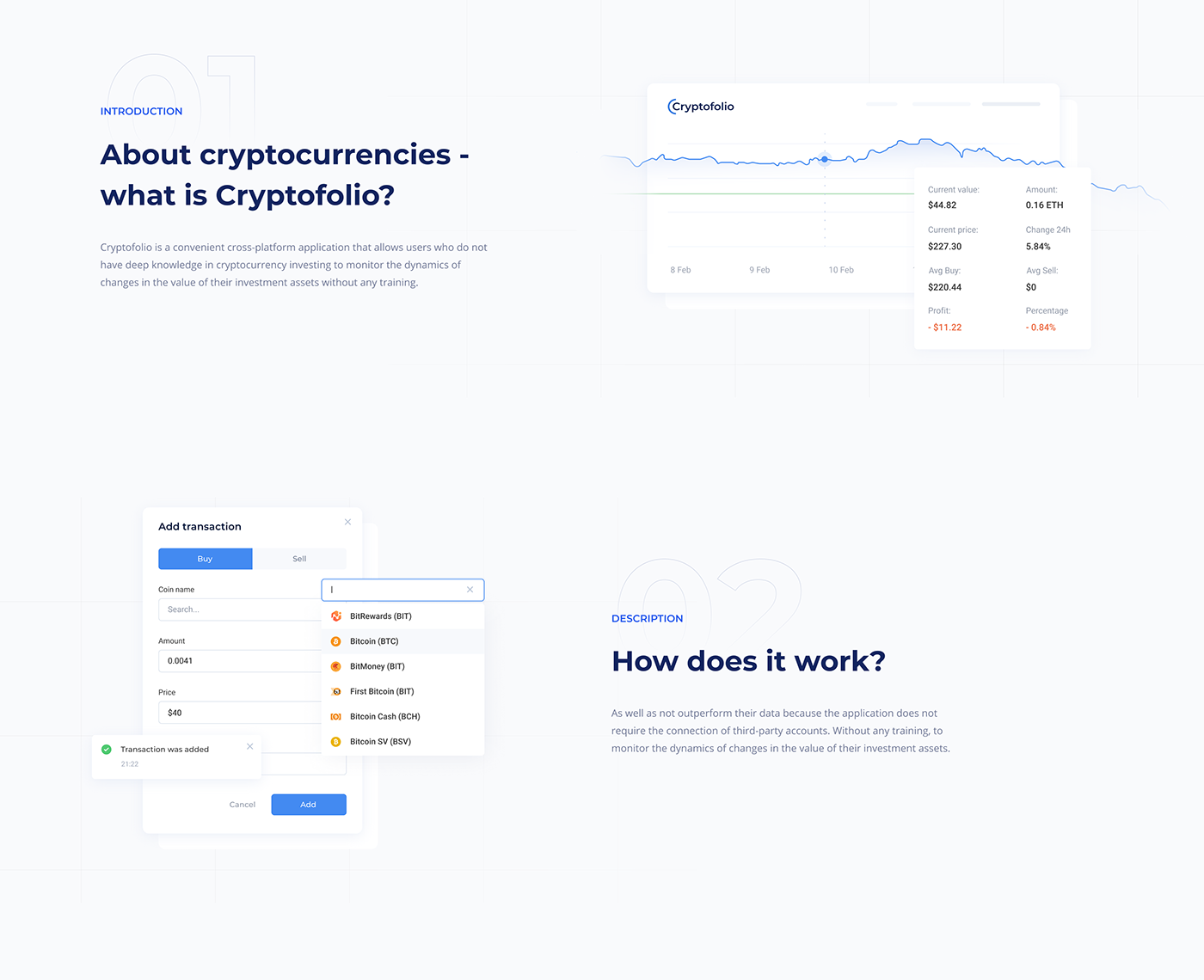 analytics coin cryptocurrency cypto Investments mvp SAAS Transactions WALLET