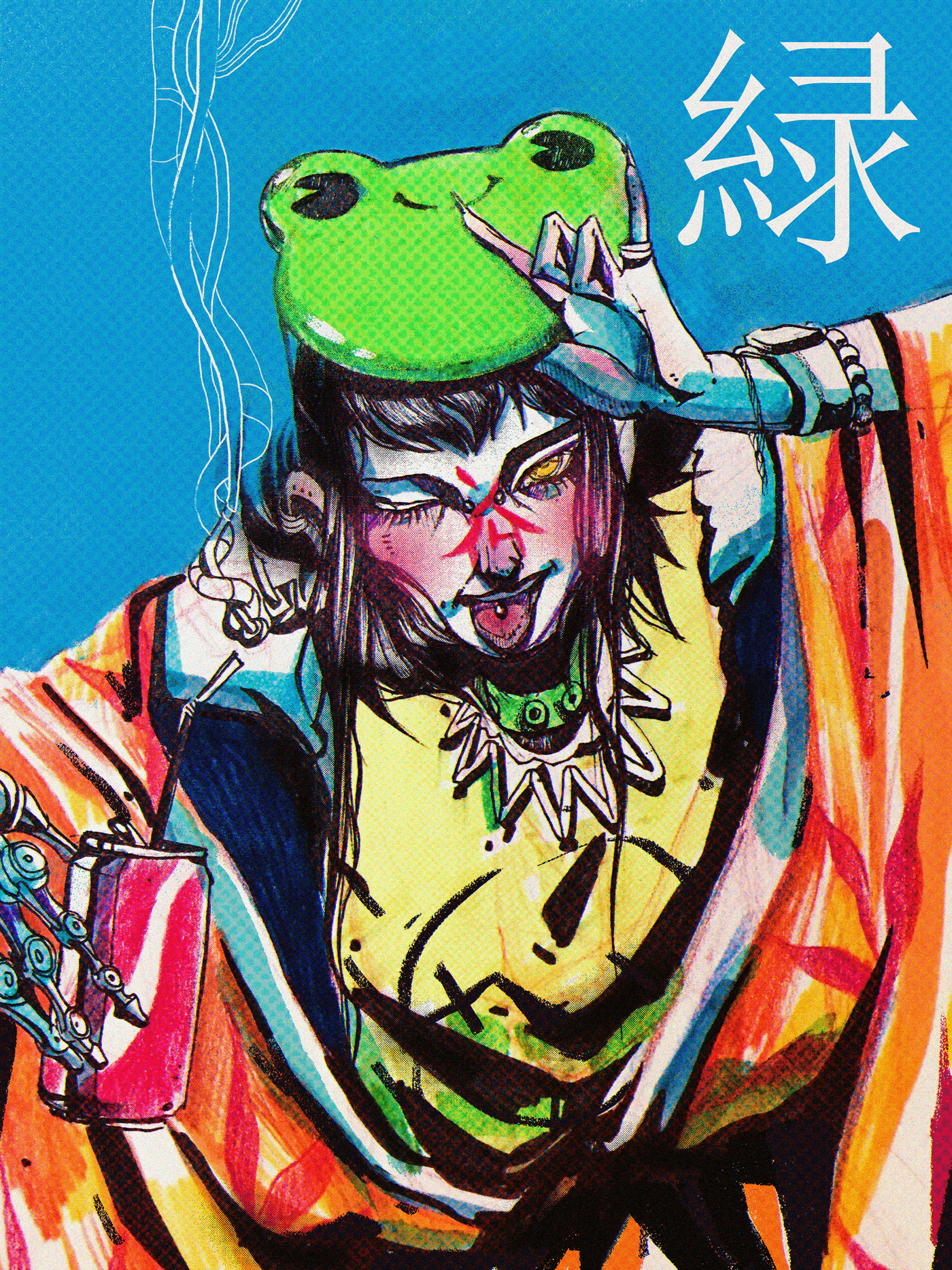 art Cyberpunk cyber art ILLUSTRATION  painting   Character asian japan Drawing  comics